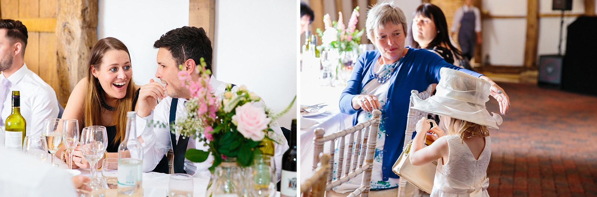 Old Greens Barn Newdigate wedding photography wedding guests during dinner