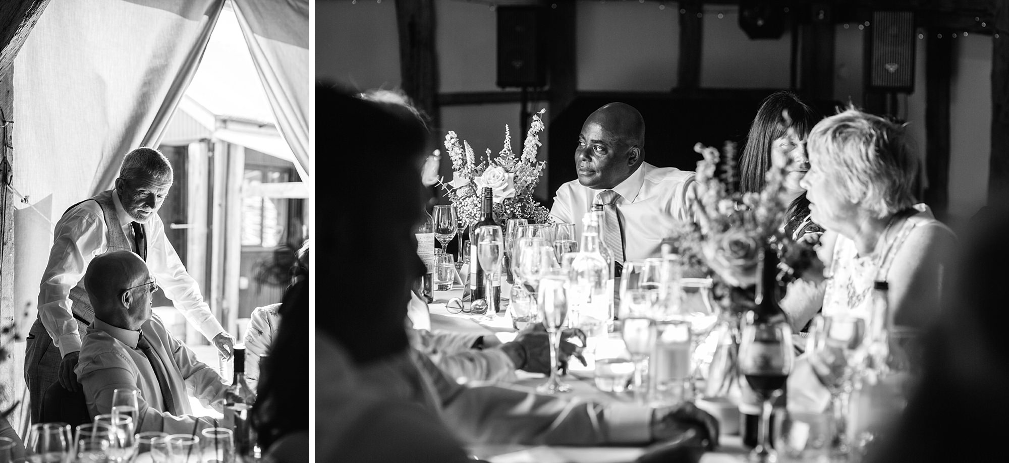 Old Greens Barn Newdigate wedding photography wedding guests during breakfast