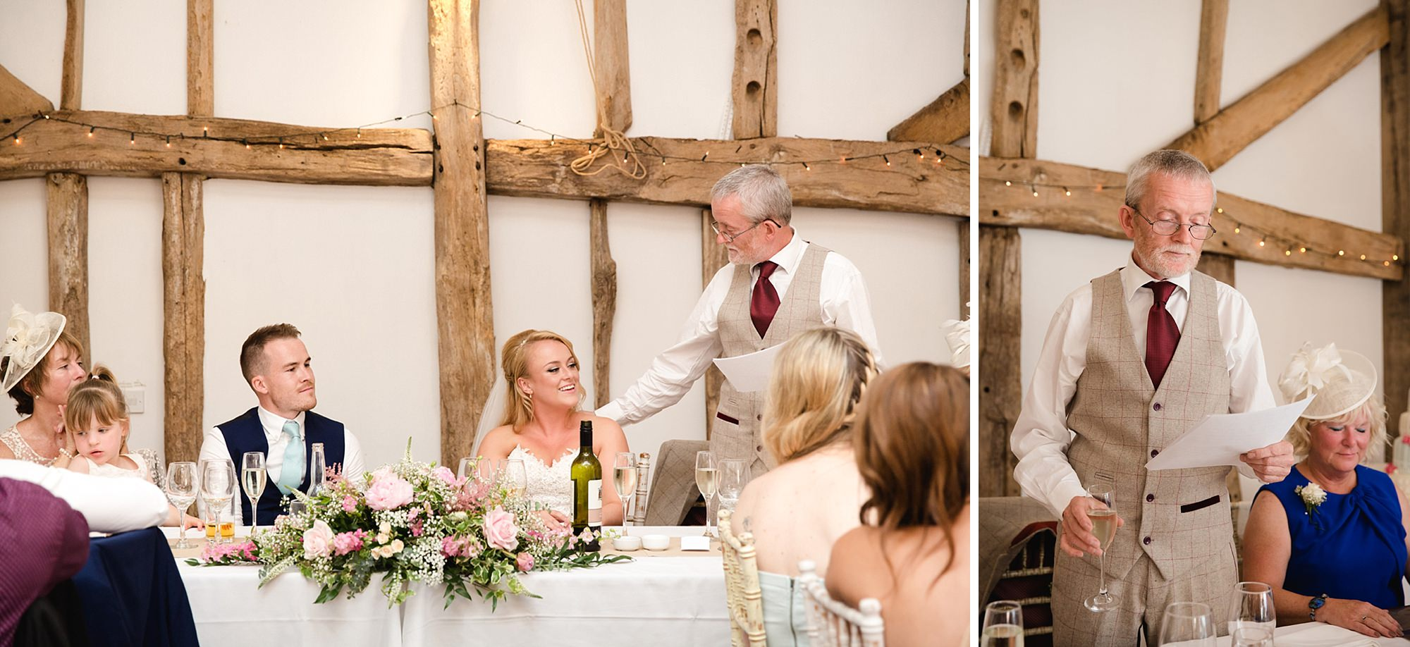 Old Greens Barn Newdigate wedding photography father of bride speech
