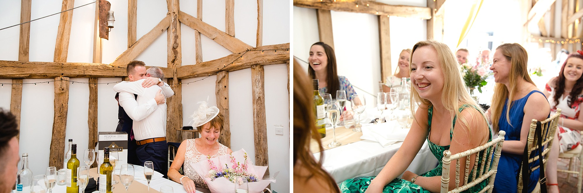 Old Greens Barn Newdigate wedding photography wedding guests during speeches