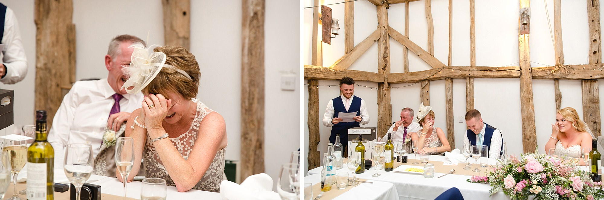 Old Greens Barn Newdigate wedding photography mother of groom during speeches