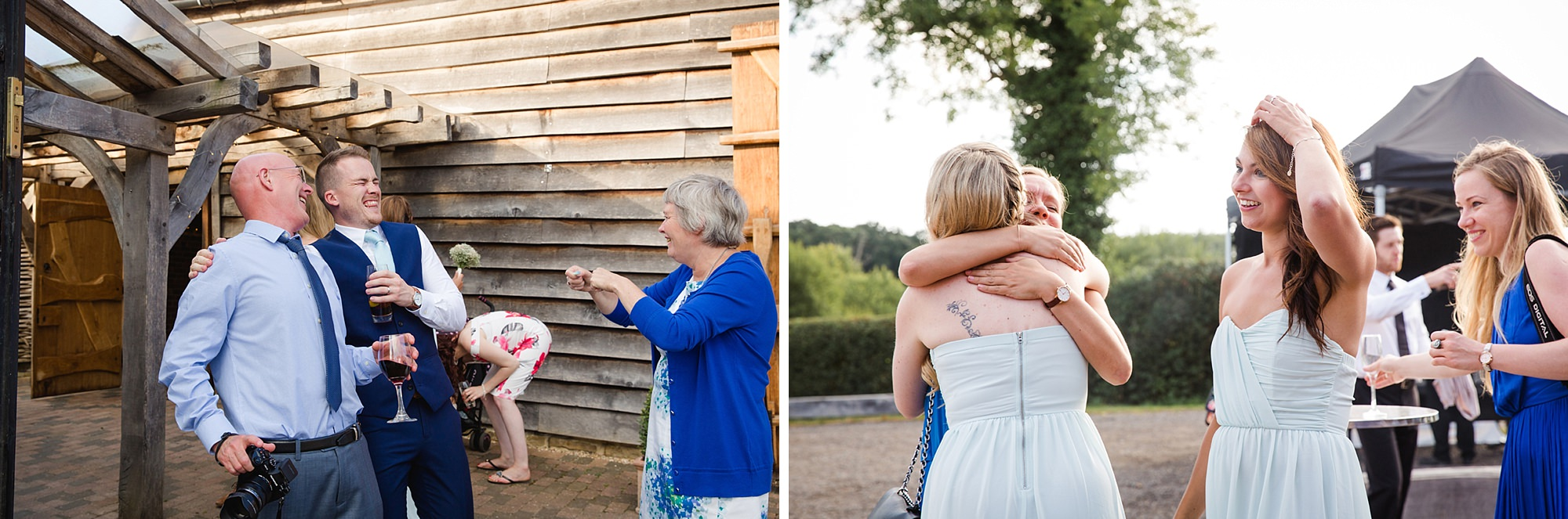 Old Greens Barn Newdigate wedding photography bride hugging guest