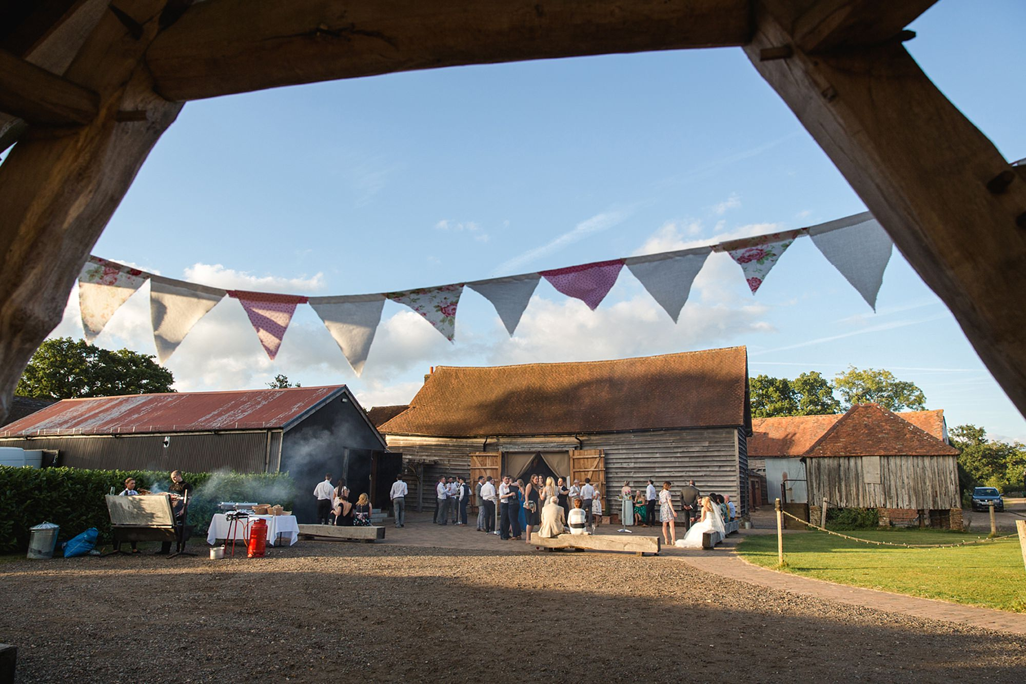 Old Greens Barn Newdigate wedding photography evening