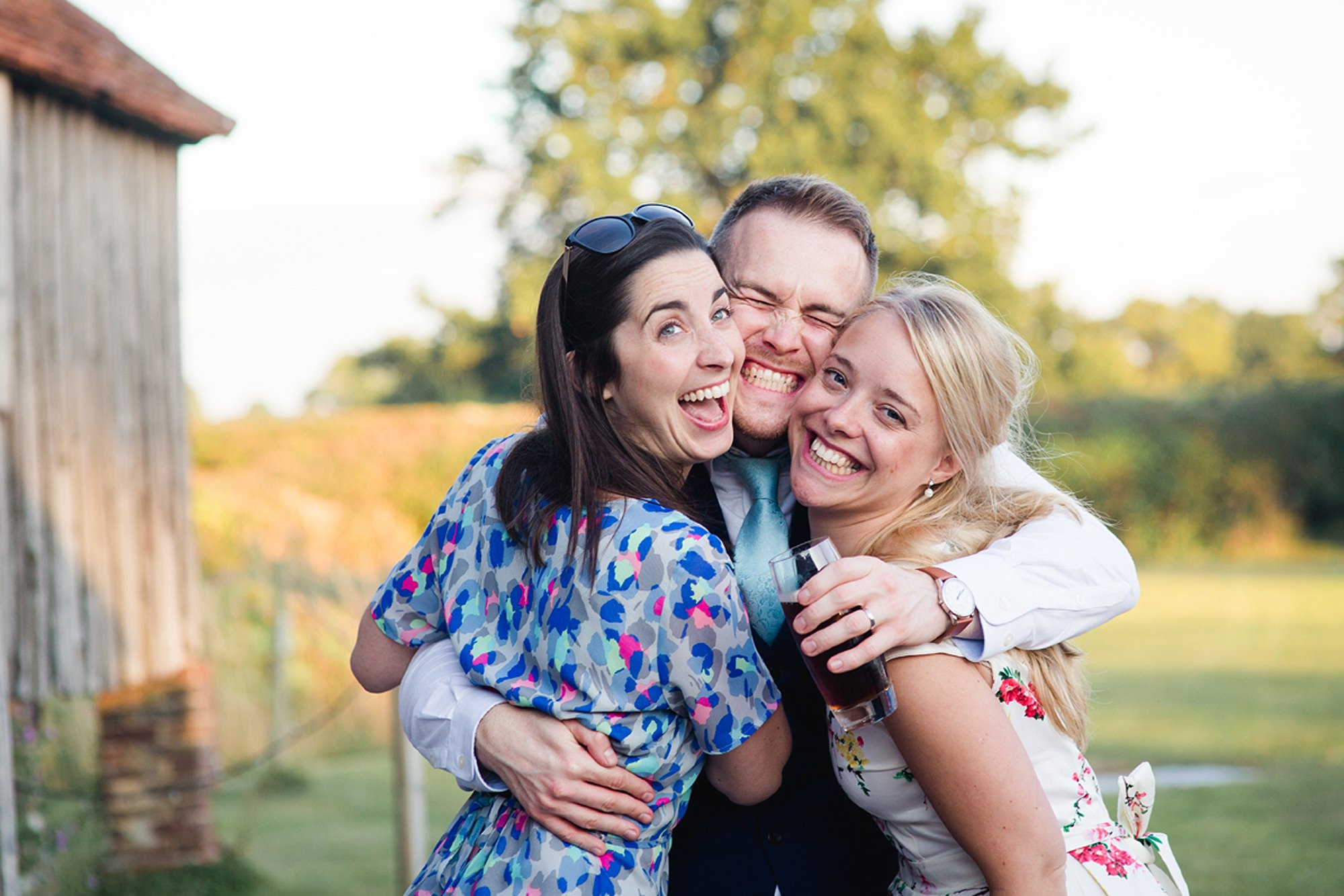 Old Greens Barn Newdigate wedding photography fun guests