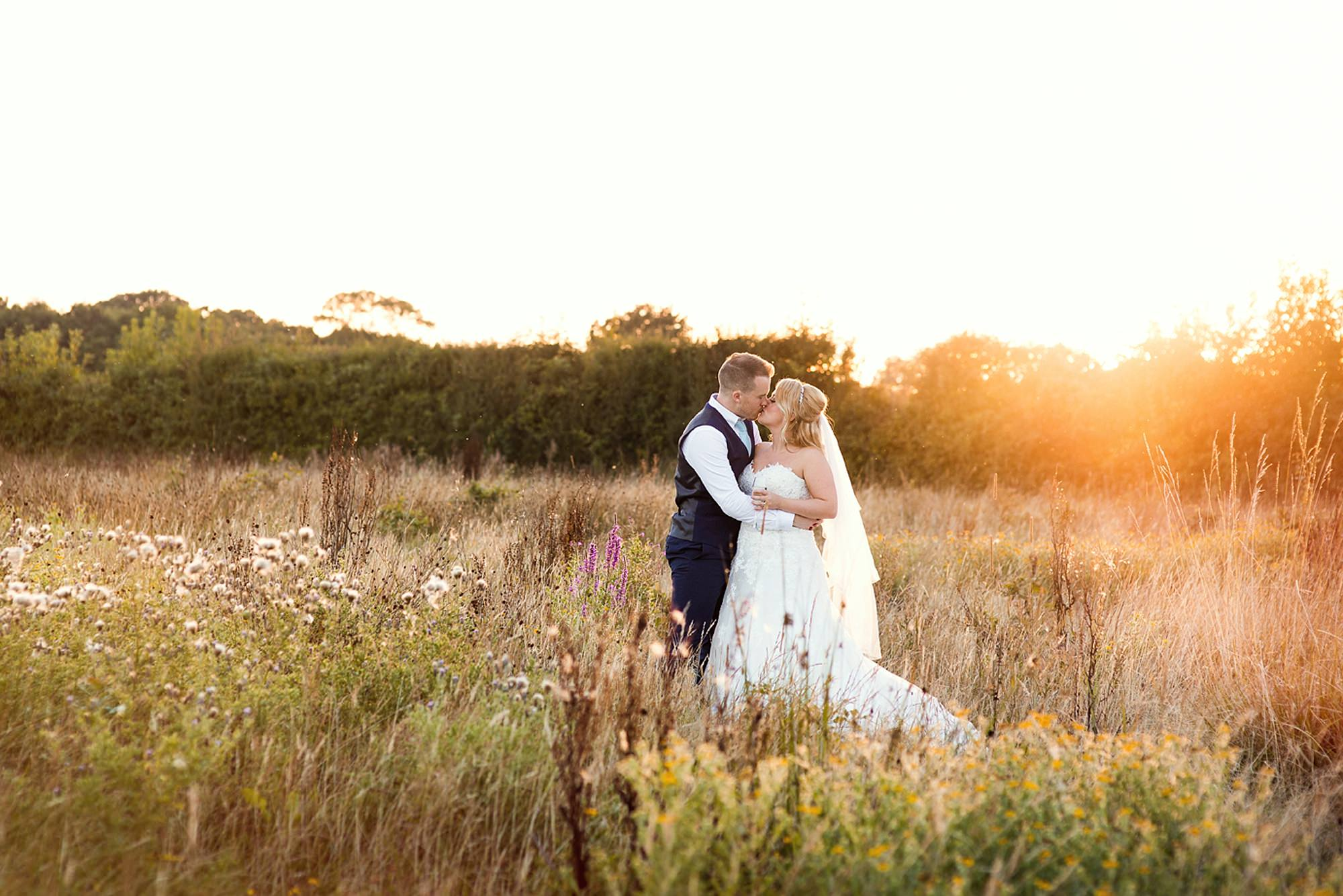 Old Greens Barn Newdigate wedding photography bride and groom at sunset