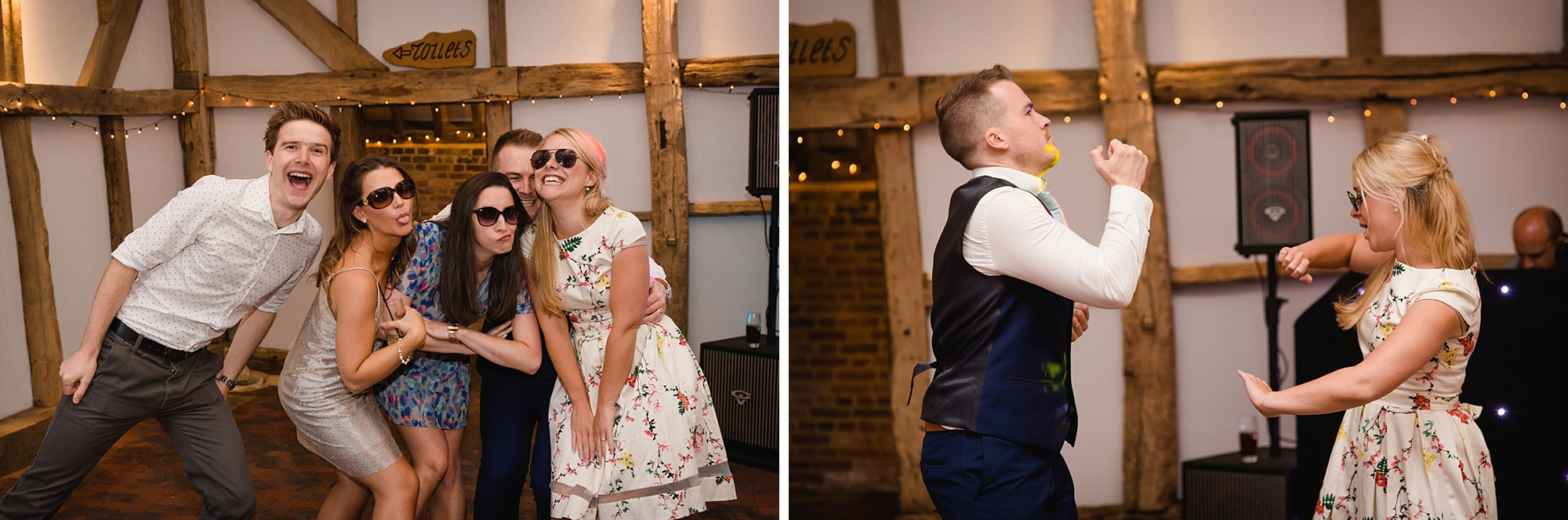 Old Greens Barn Newdigate wedding photography funny dancing