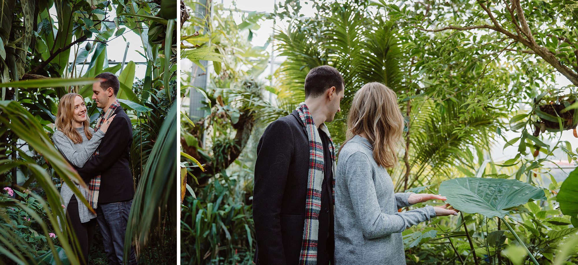 Oxford engagement photography couple with big plants