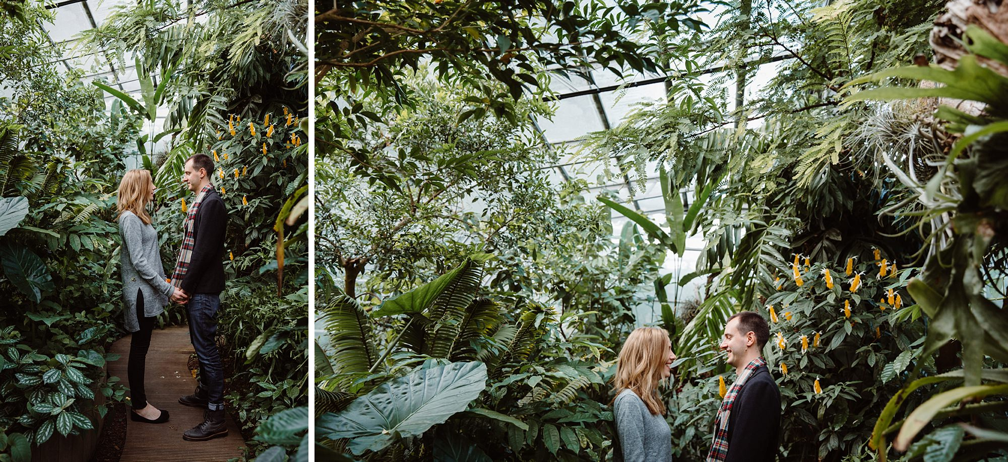 Oxford engagement photography couple in greenhouse