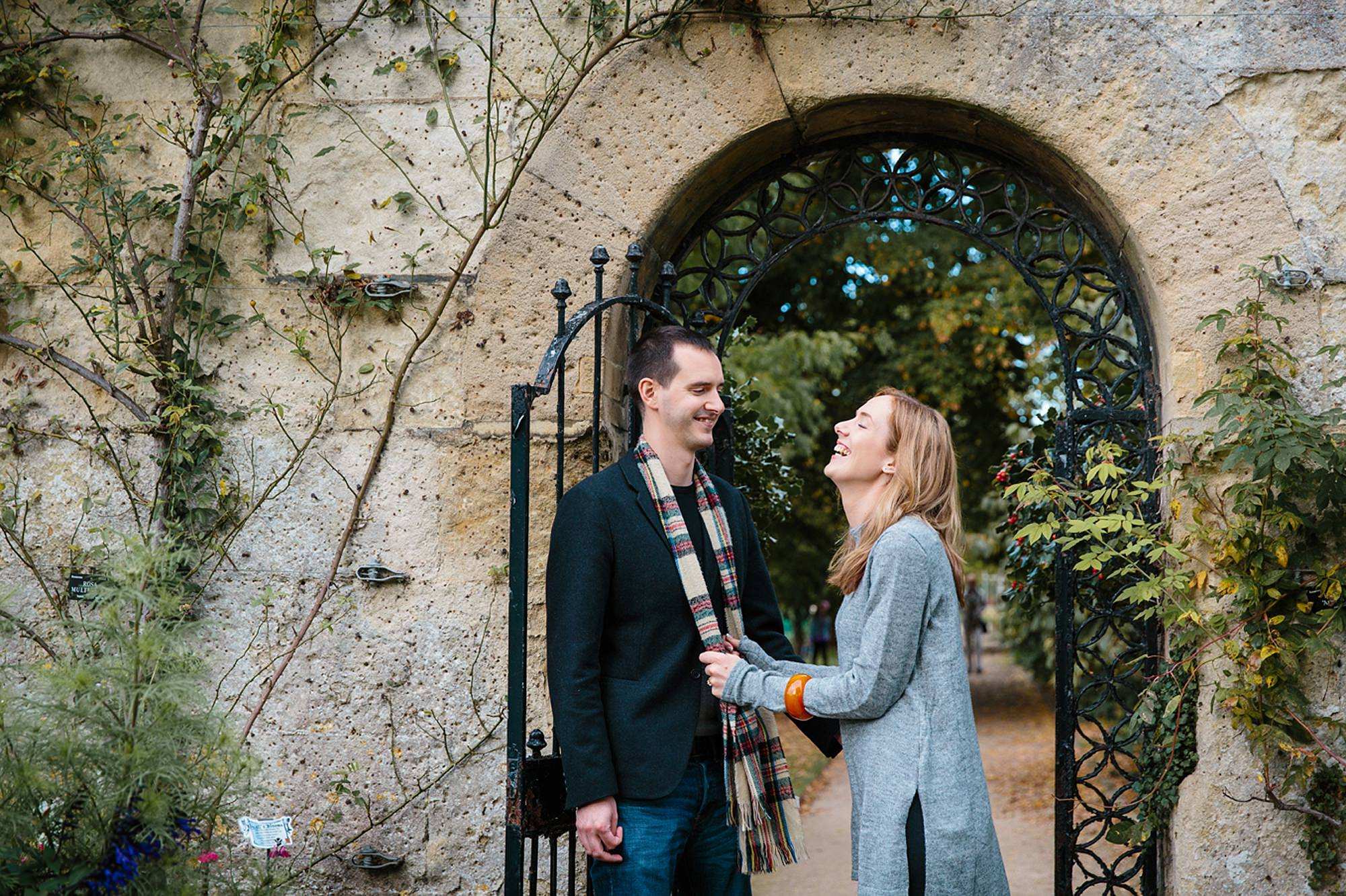 Oxford engagement photography couple laughing together