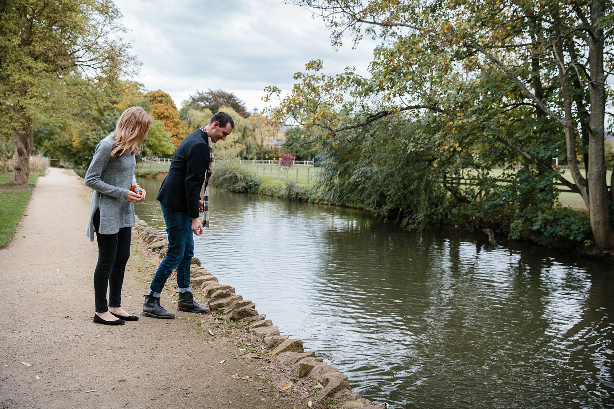 Oxford engagement photography couple by river