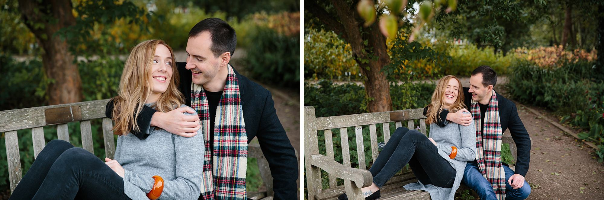Oxford engagement photography couple on bench