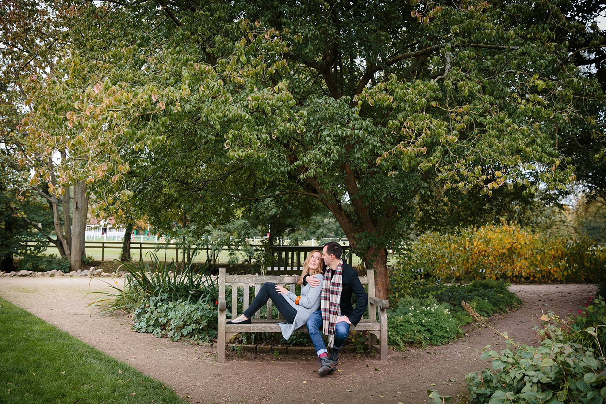 Oxford engagement photography bride and groom on bench
