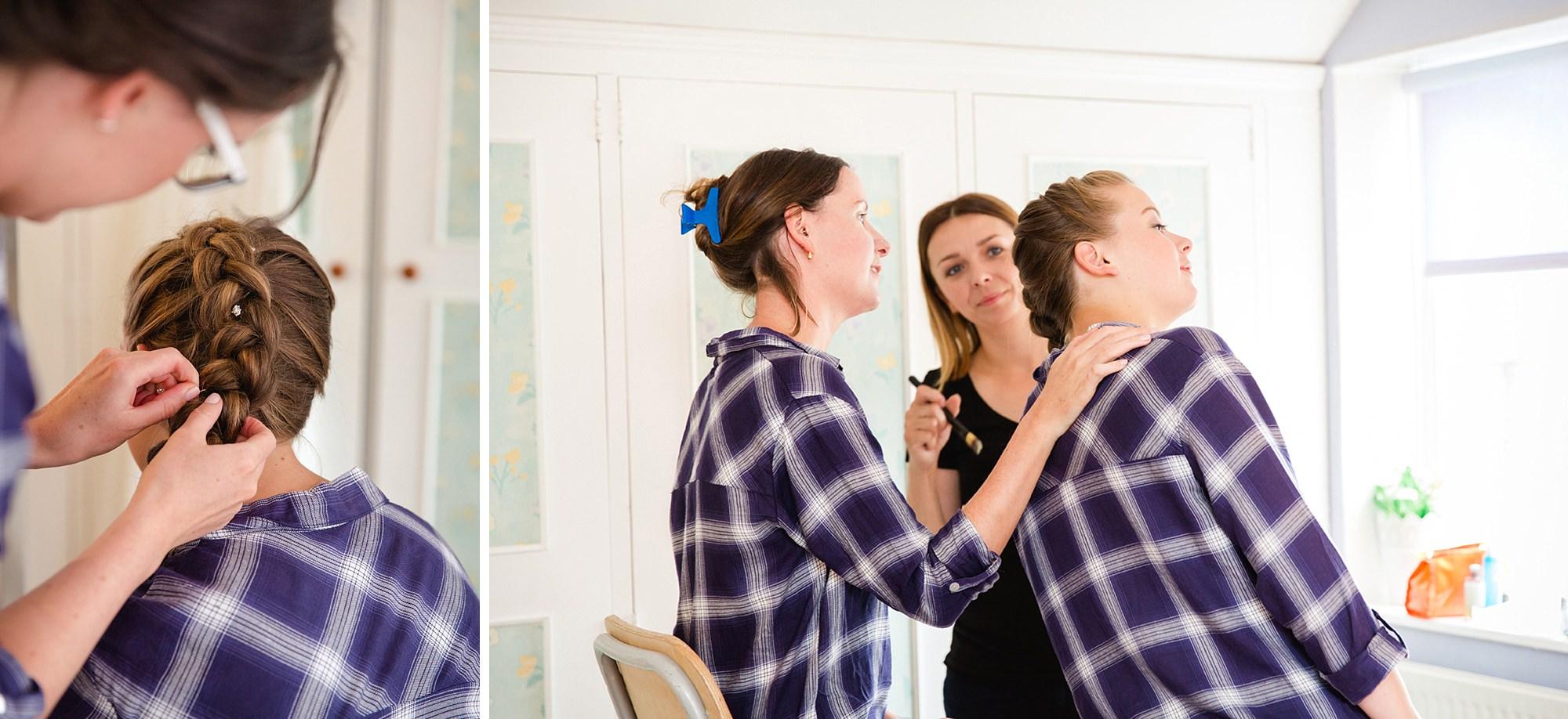 outdoor humanist wedding photography bridesmaids doing hair