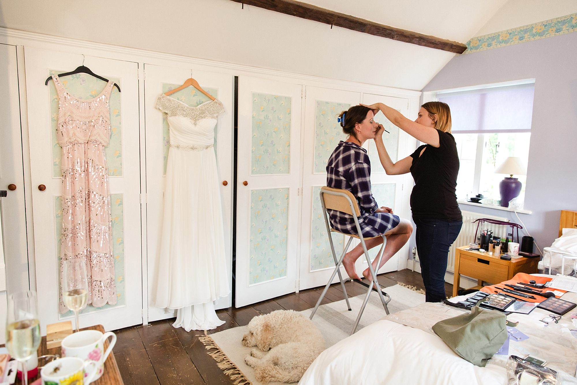 Outdoor humanist wedding photography bride getting ready