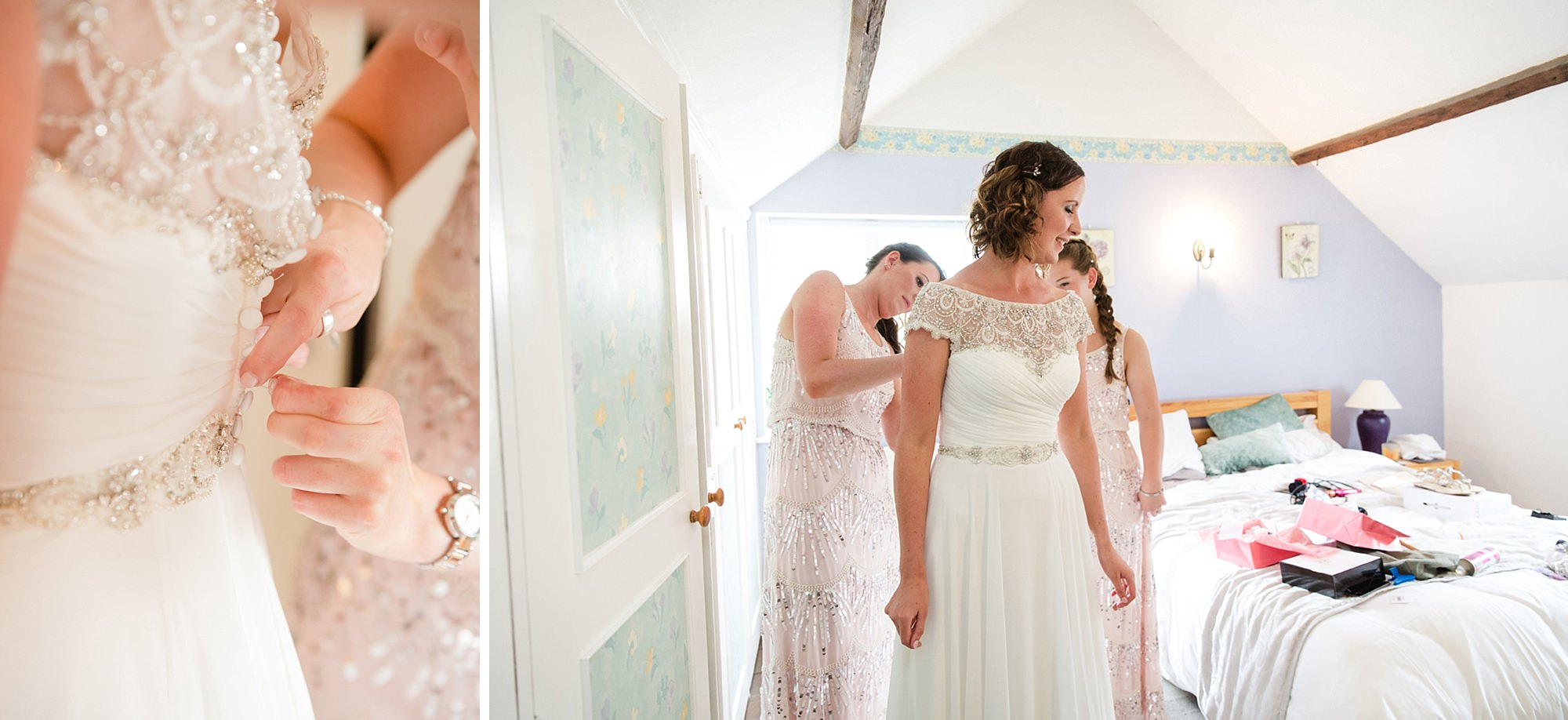outdoor humanist wedding photography bride getting dressed