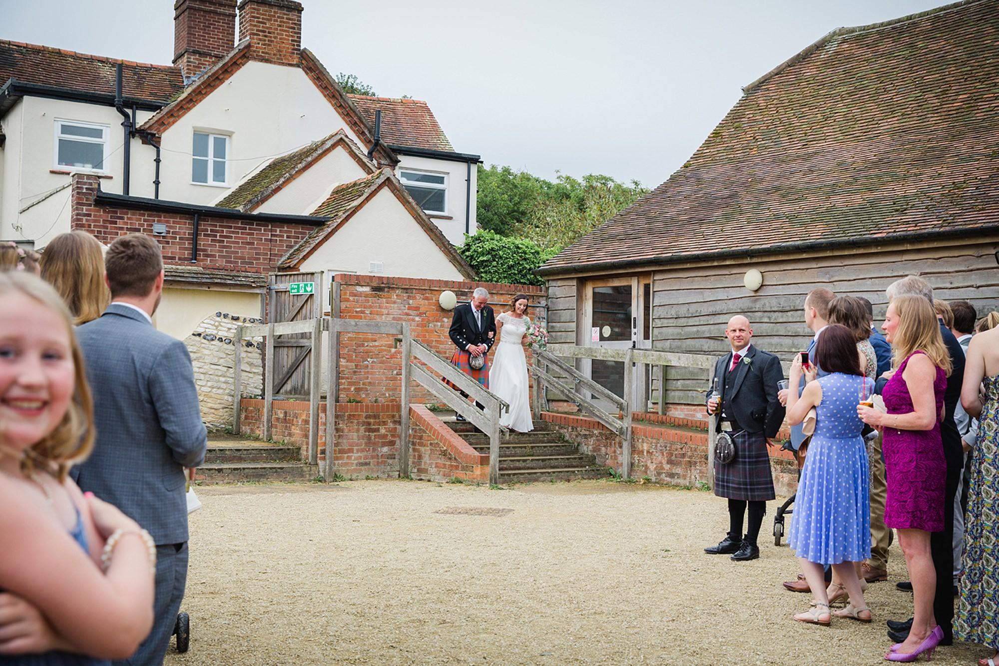 outdoor humanist wedding photography bride arriving for ceremony