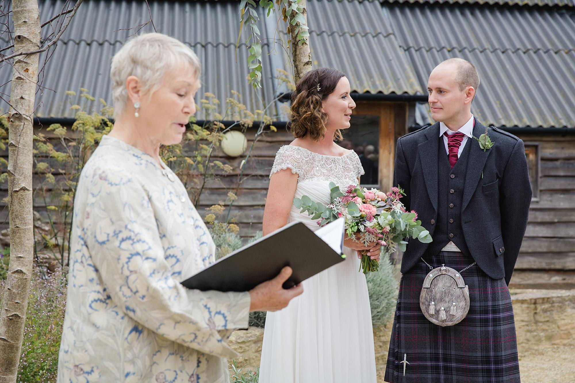 outdoor humanist wedding photography bride and room during ceremony