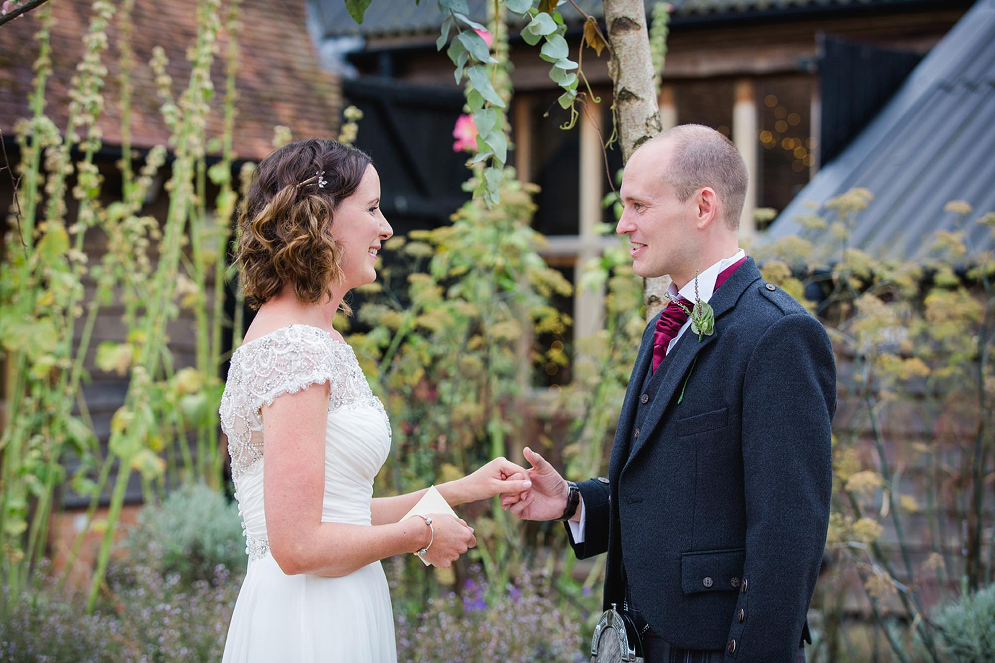 outdoor humanist wedding photography bride and groom exchange vows