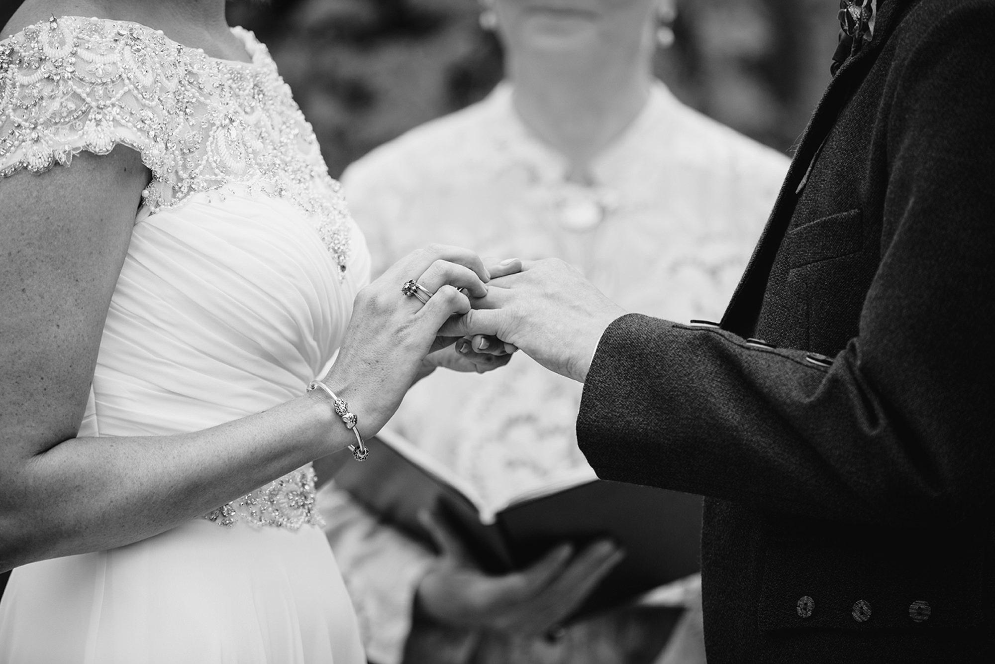 outdoor humanist wedding photography exchange of rings