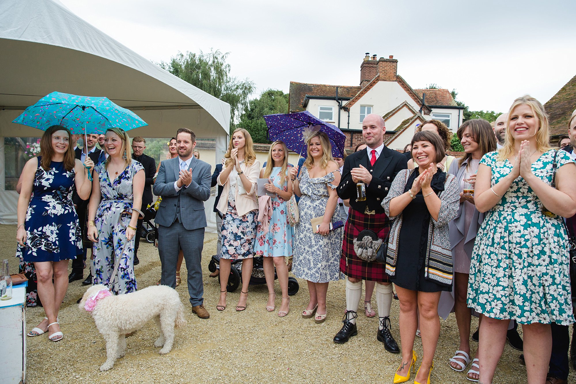 outdoor humanist wedding photography clapping wedding guests
