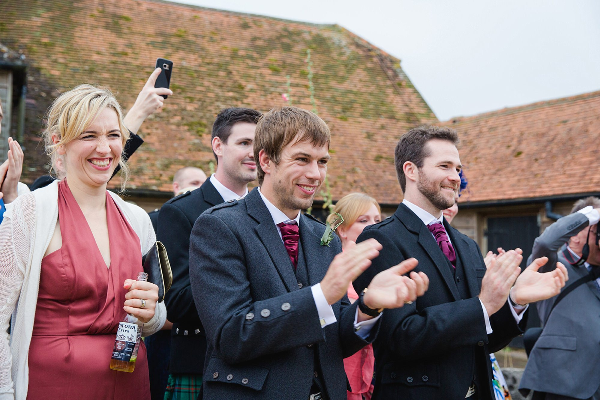 outdoor humanist wedding photography cheering guests
