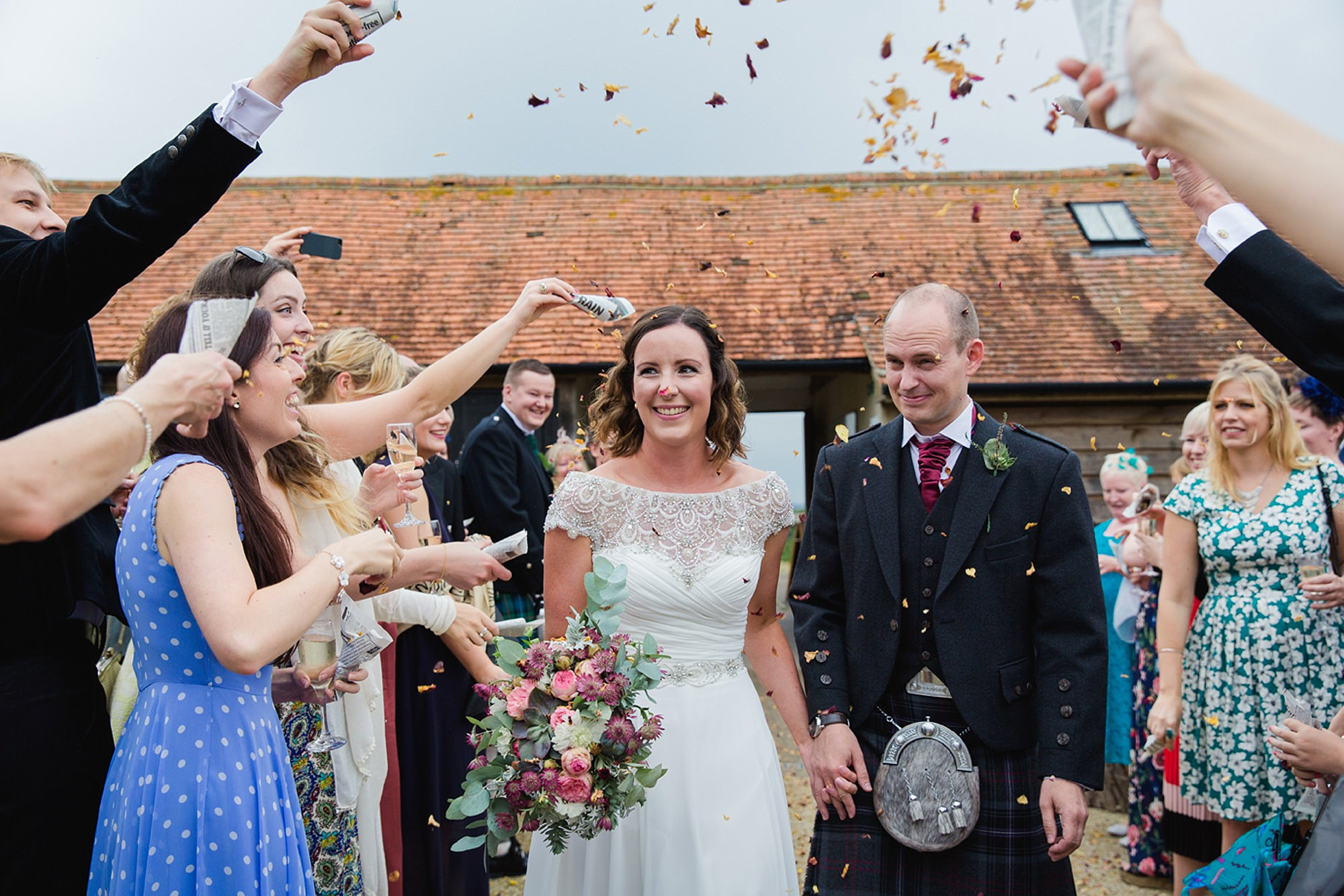 outdoor humanist wedding photography confetti close up