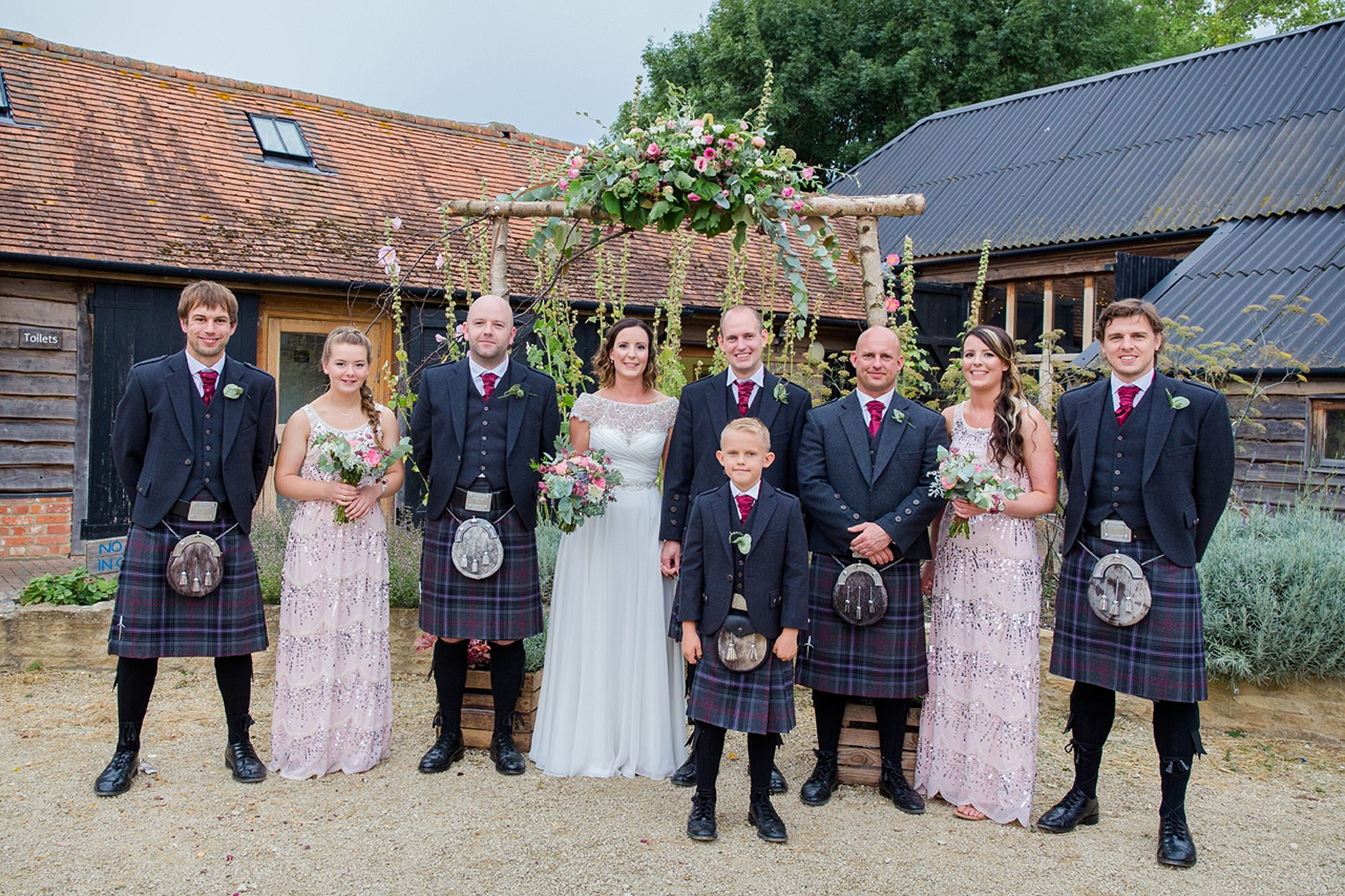 outdoor humanist wedding photography bridal party