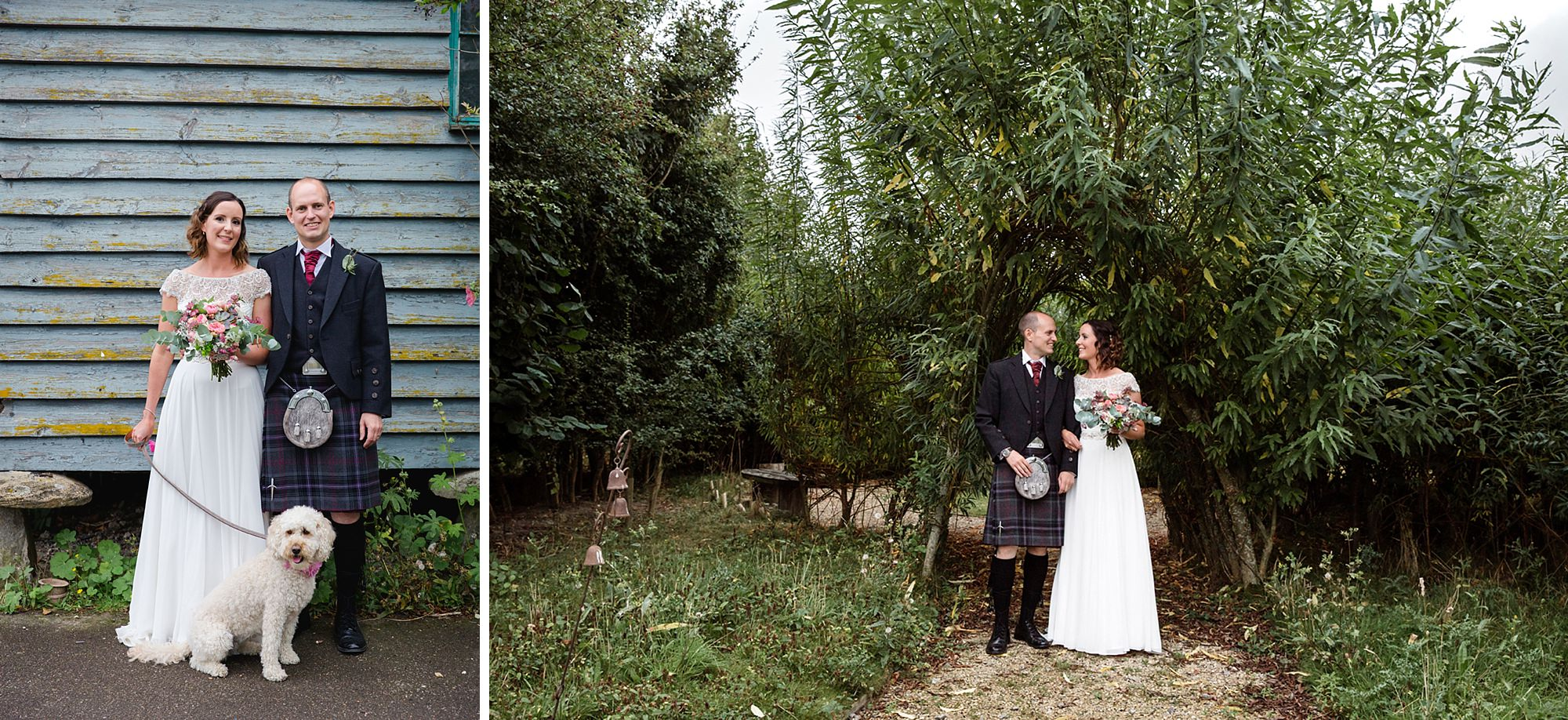 outdoor humanist wedding photography bride and groom with their dog