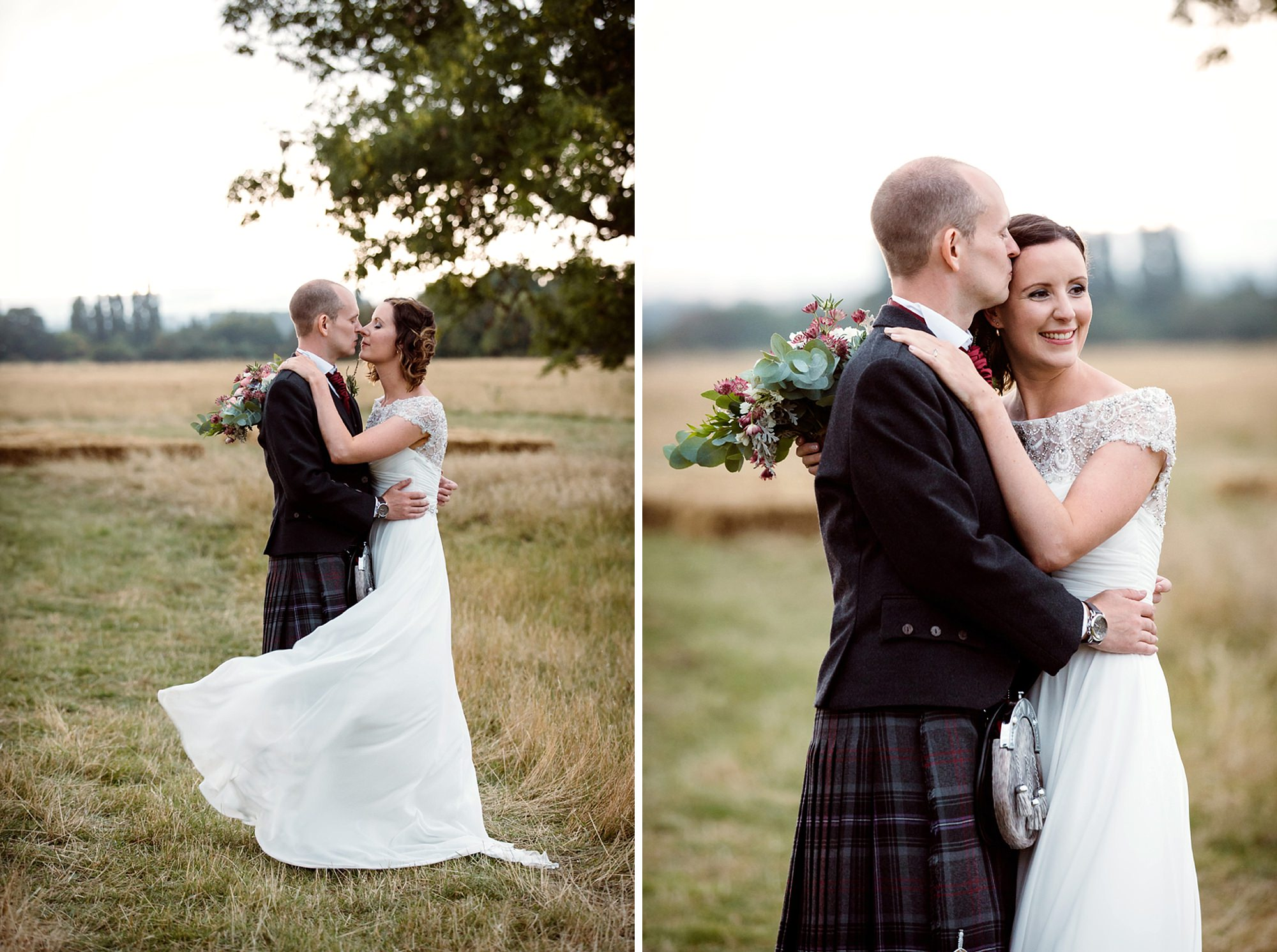 outdoor humanist wedding photography bride and groom hug