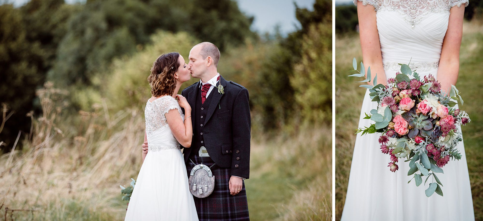 outdoor humanist wedding photography bride and groom kiss
