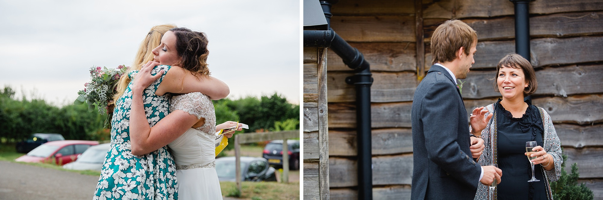 outdoor humanist wedding photography wedding guests hugging