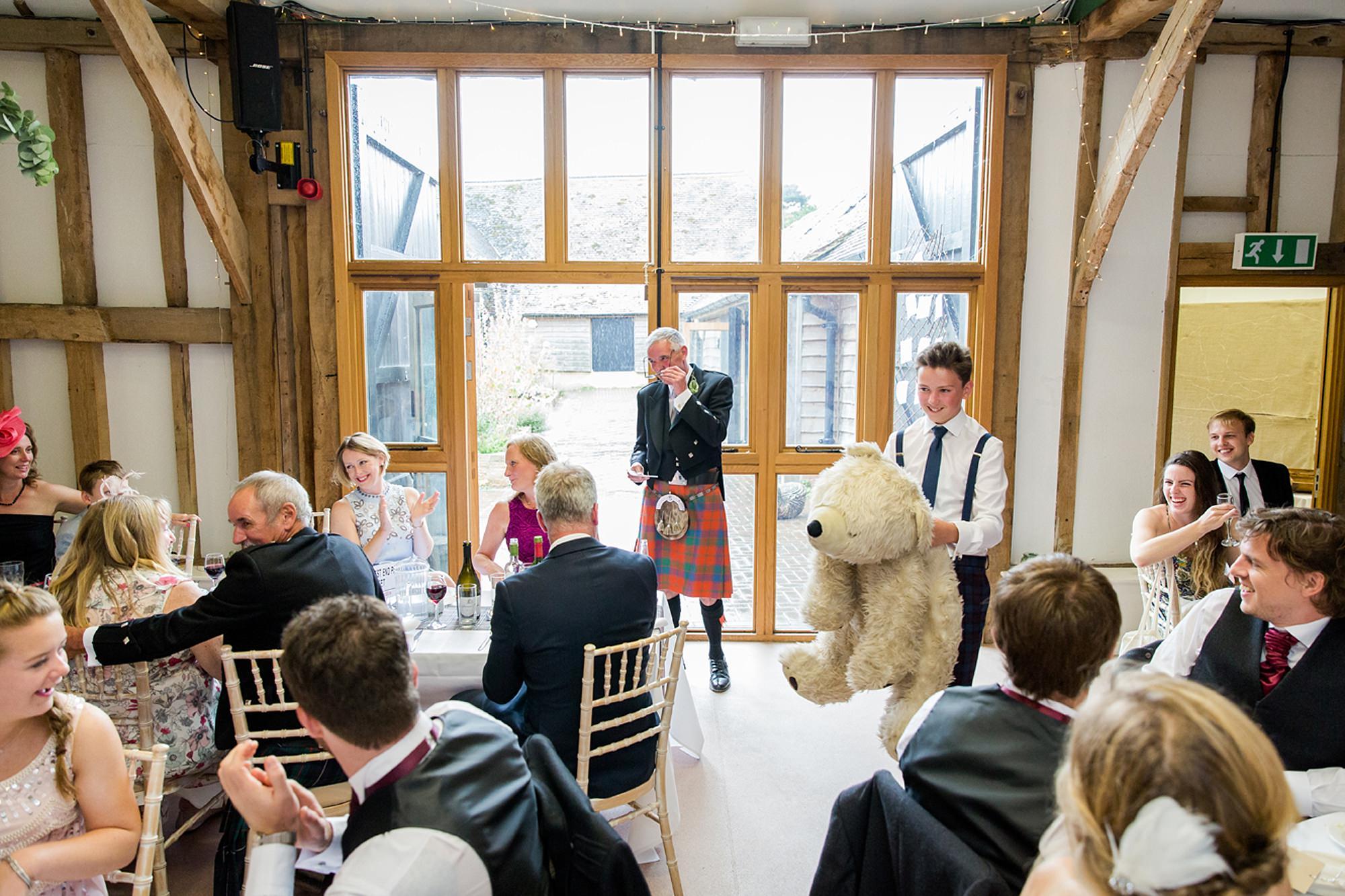 outdoor humanist wedding photography giant teddy bear