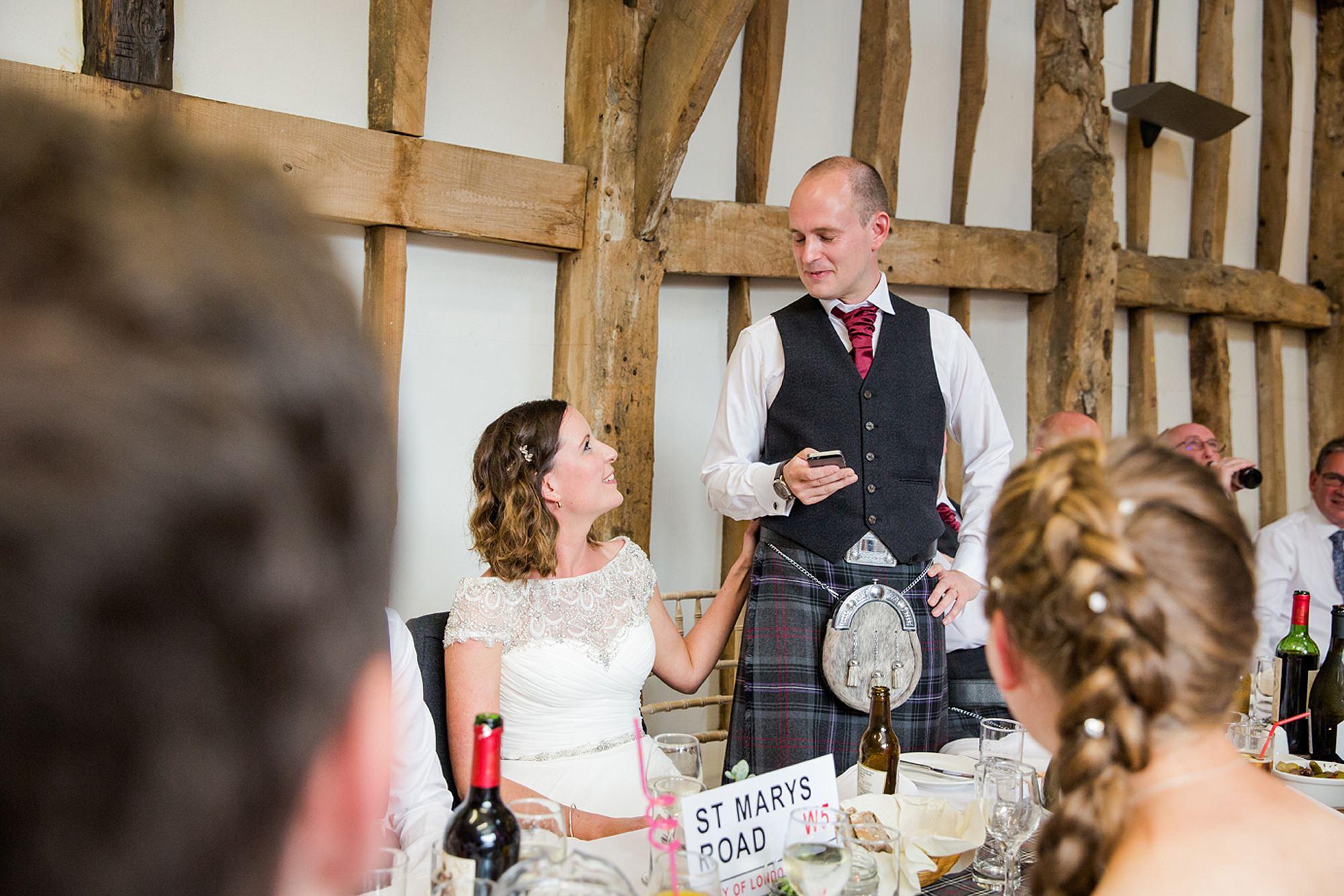 outdoor humanist wedding photography groom's speech to bride