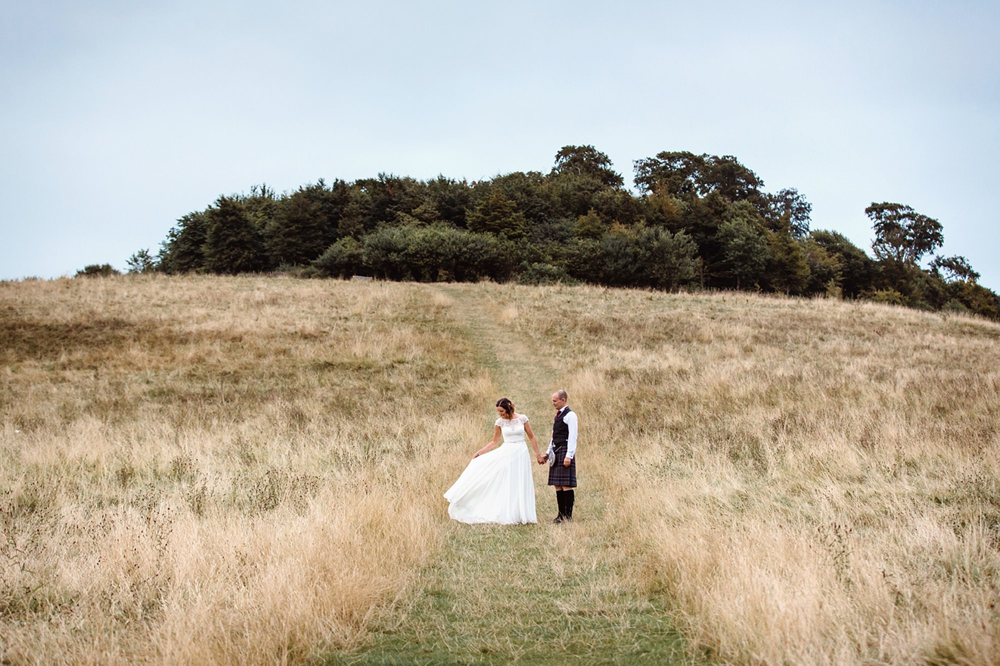 outdoor humanist wedding photography bride with dress