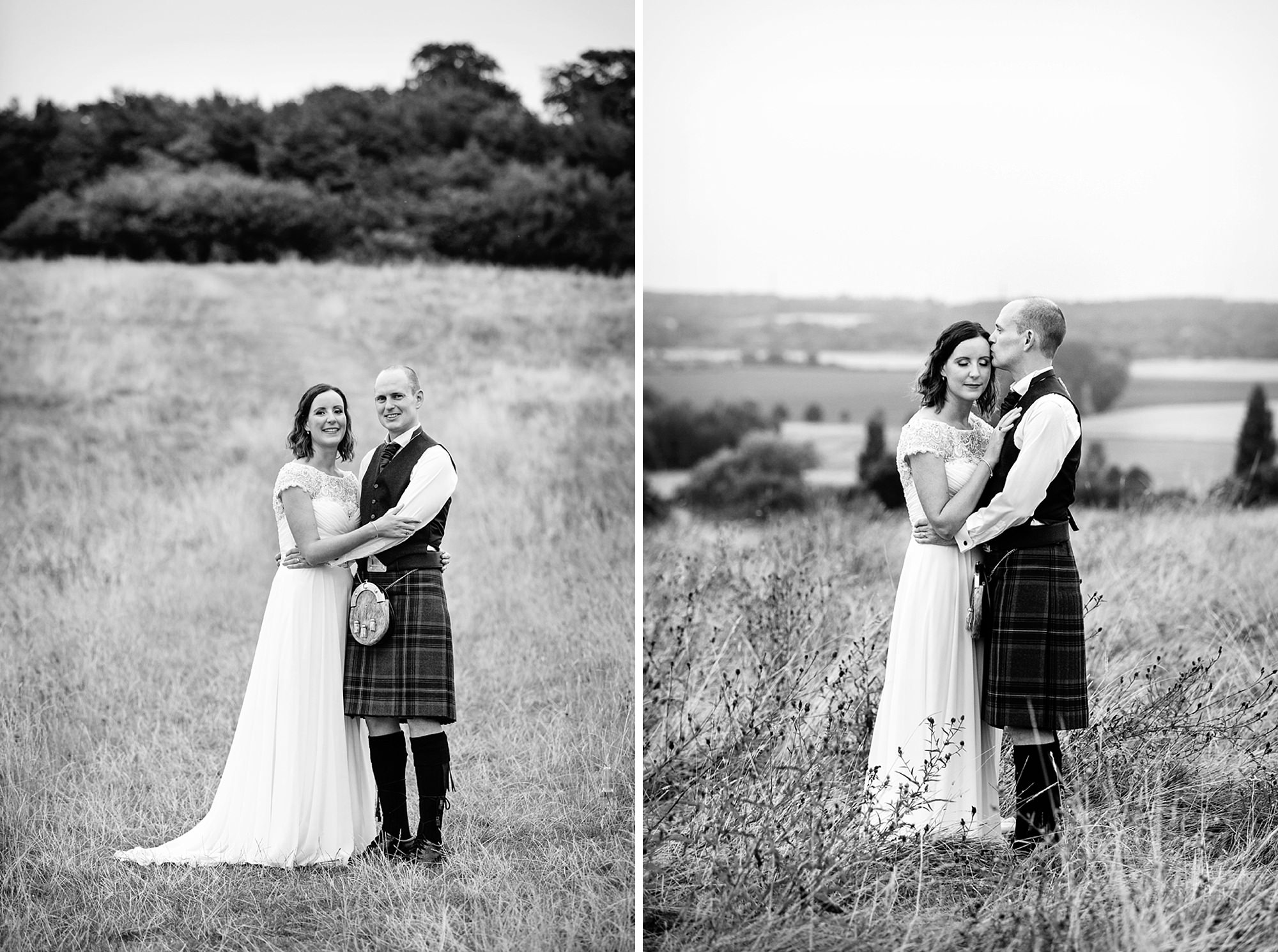 outdoor humanist wedding photography bride and groom on hill