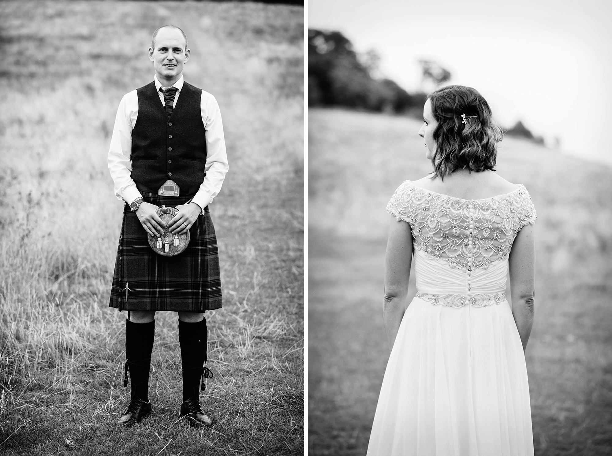 outdoor humanist wedding photography portrait of groom and back of brides dress