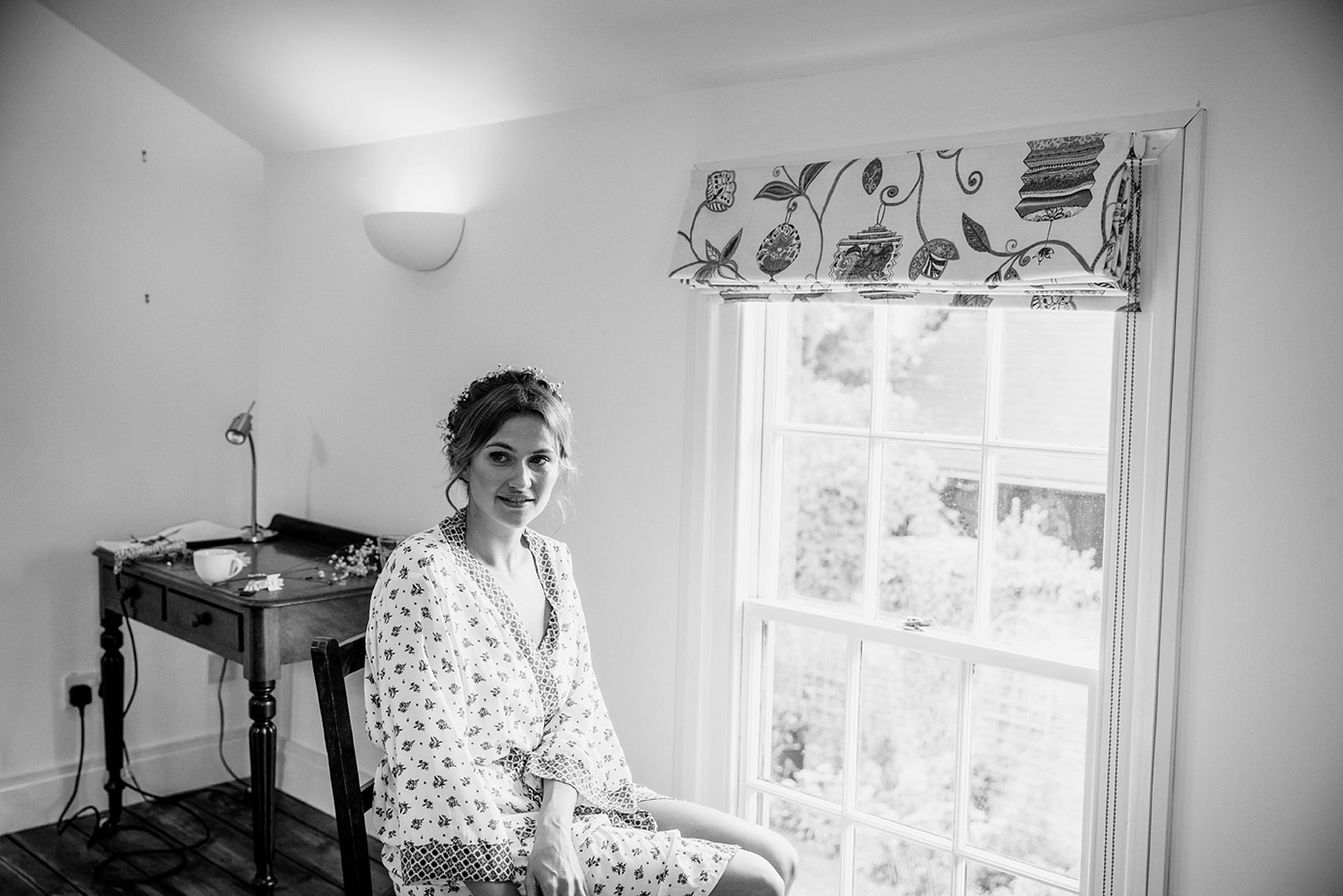 Marks Hall Estate wedding photography bride in window