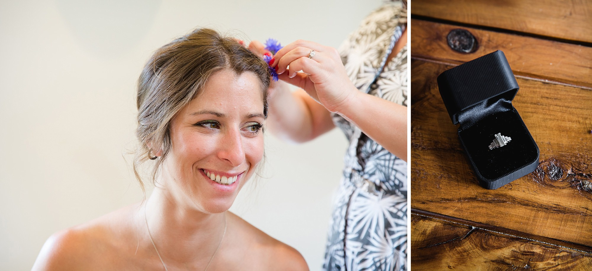 Marks Hall Estate wedding photography bridesmaid having her hair done and ring