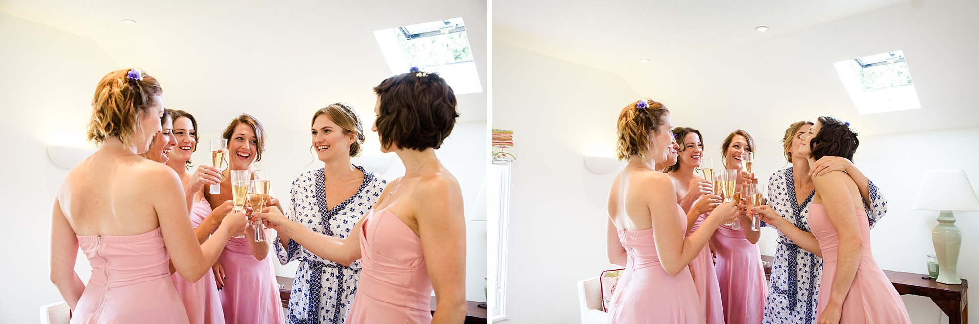 Marks Hall Estate wedding photography bridesmaids toasting with champagne
