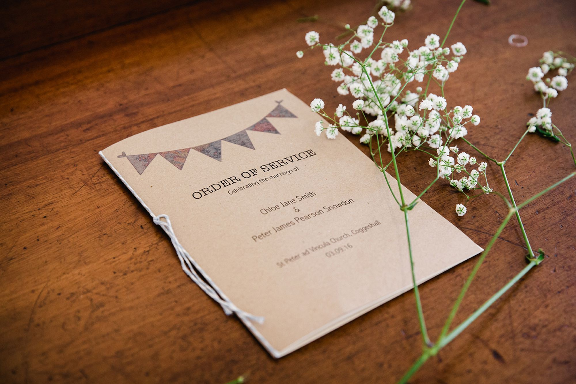 Marks Hall Estate wedding photography handmade order of service