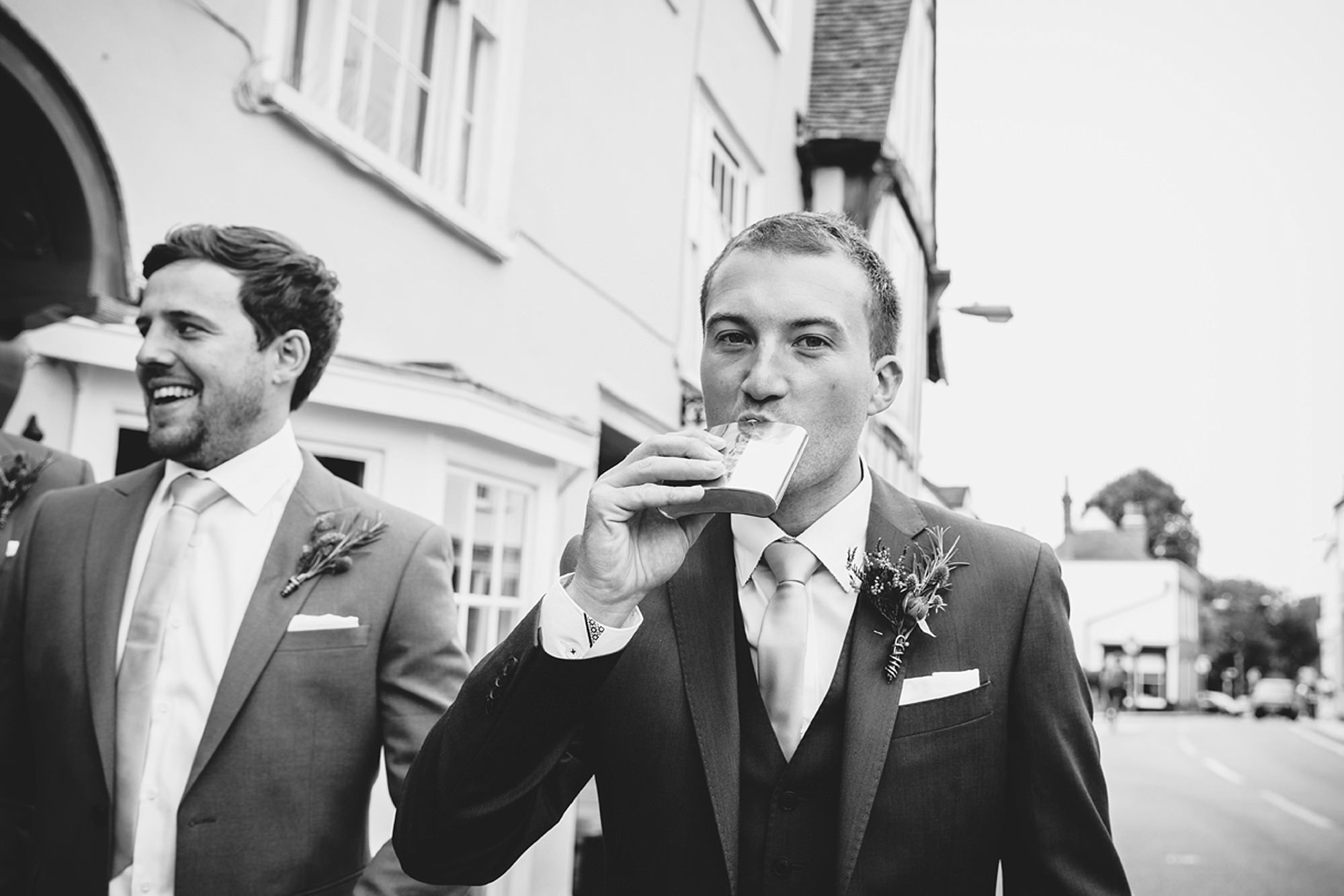 Marks Hall Estate wedding photography groom with hip flask