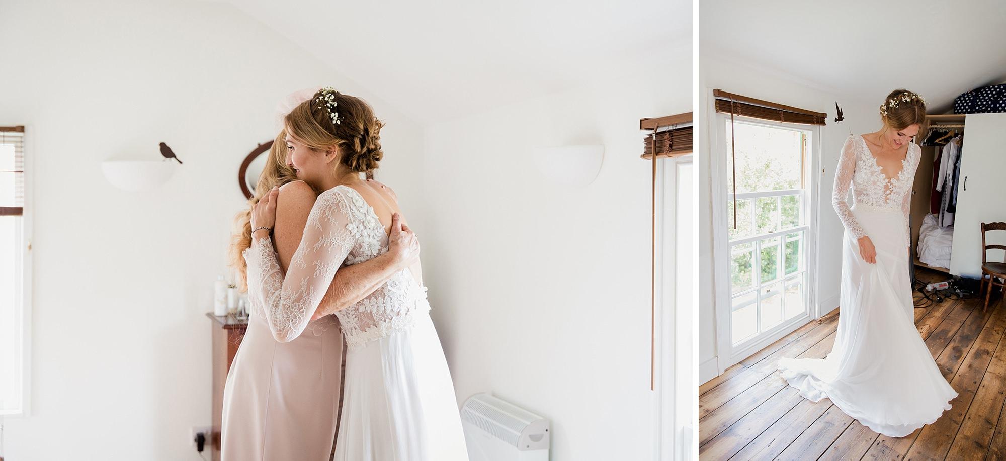 Marks Hall Estate wedding photography bride hugging mum