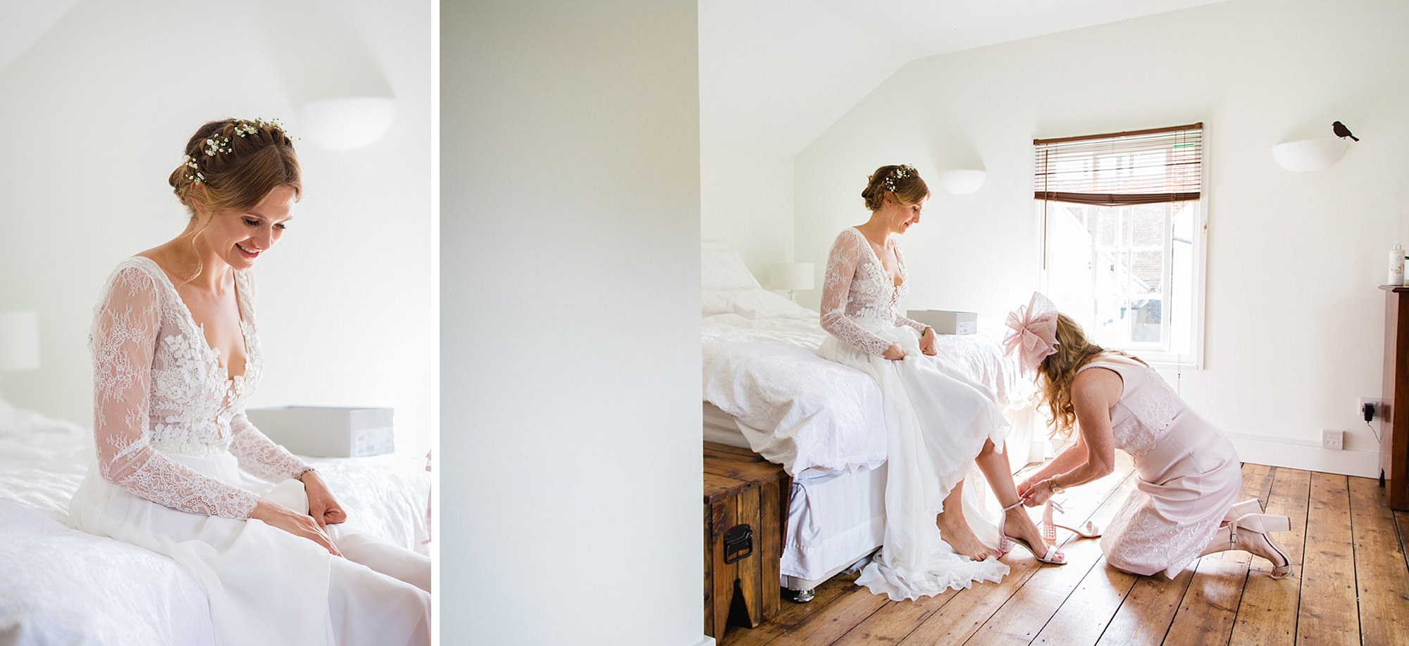 Marks Hall Estate wedding photography bride putting on shoes