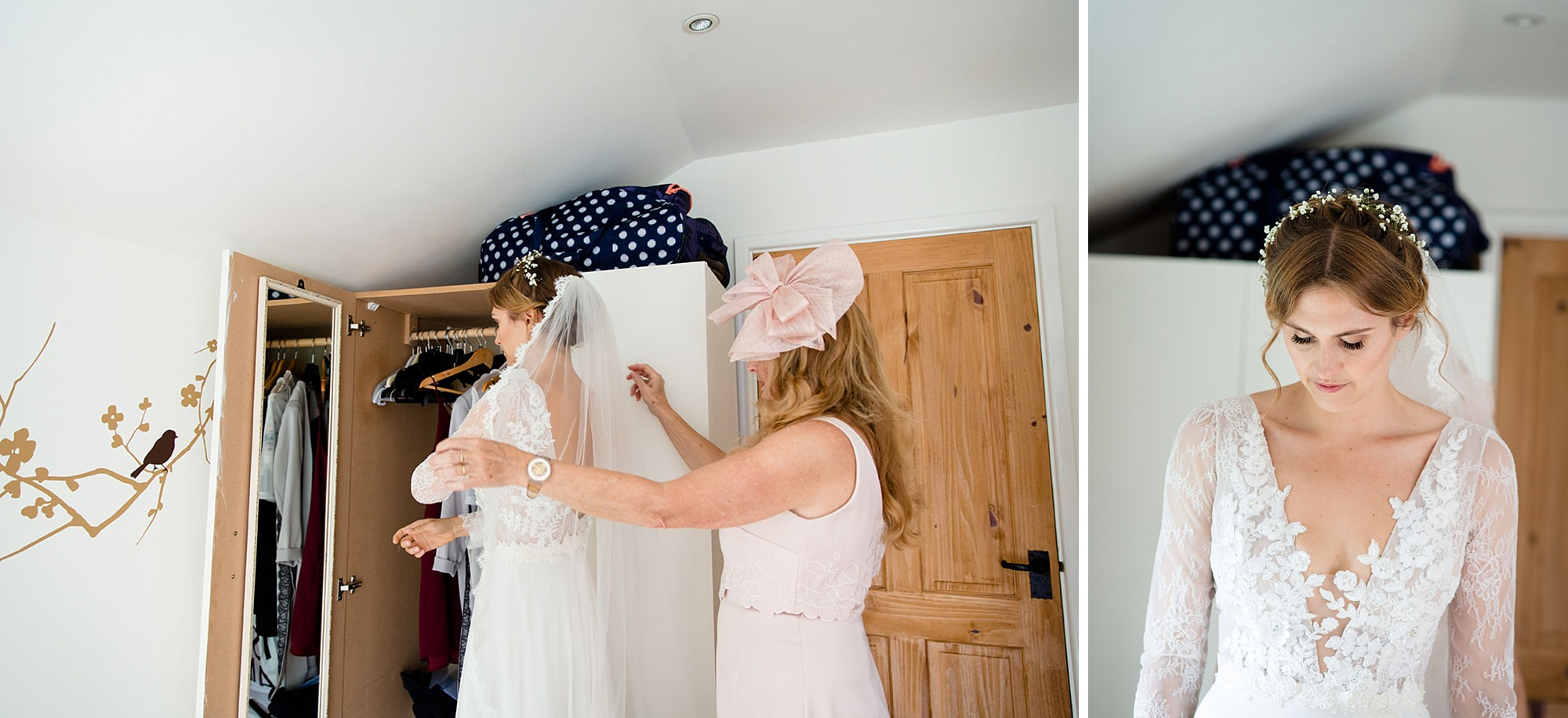 Marks Hall Estate wedding photography bride putting on veil