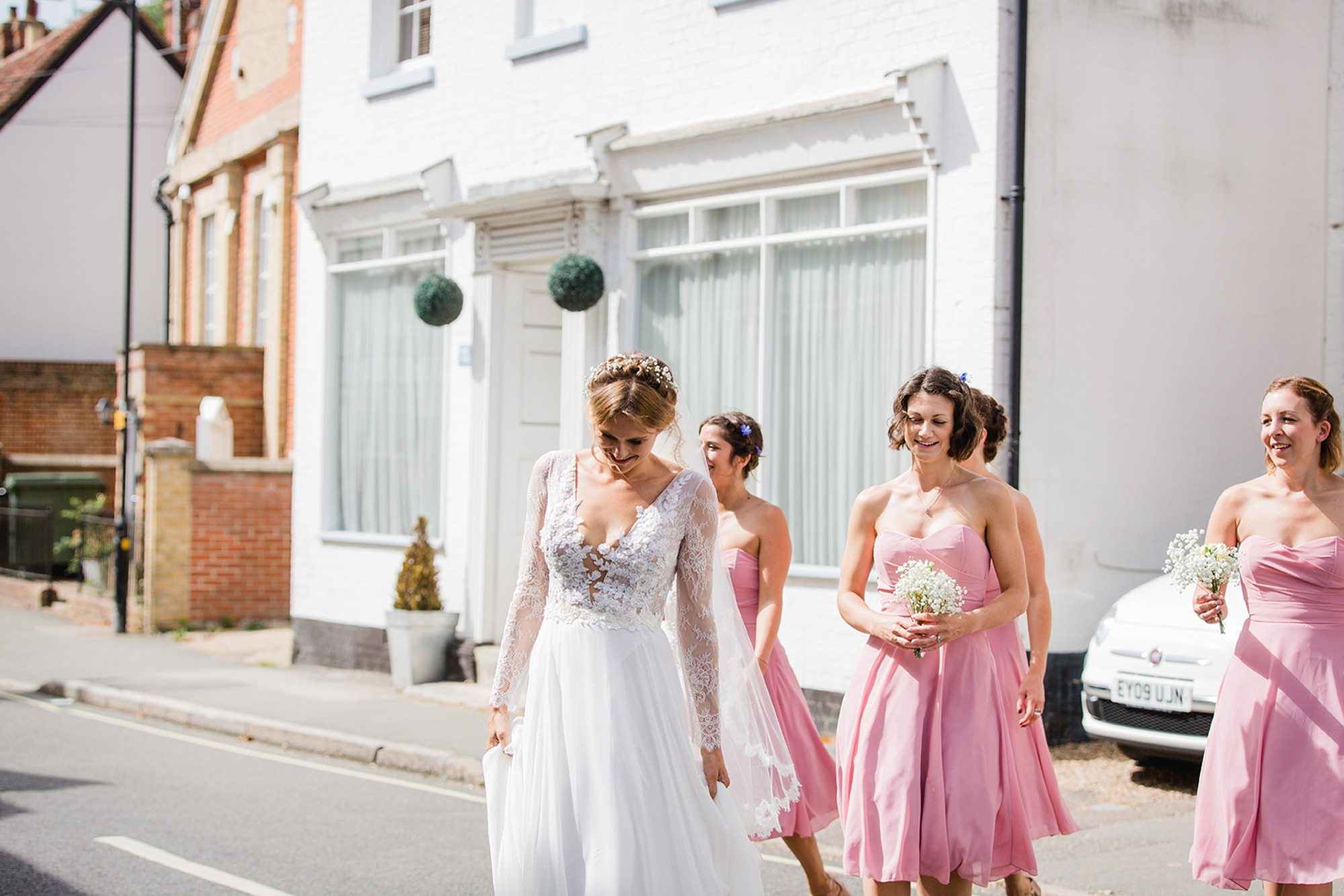 Marks Hall Estate wedding photography bride crossing road