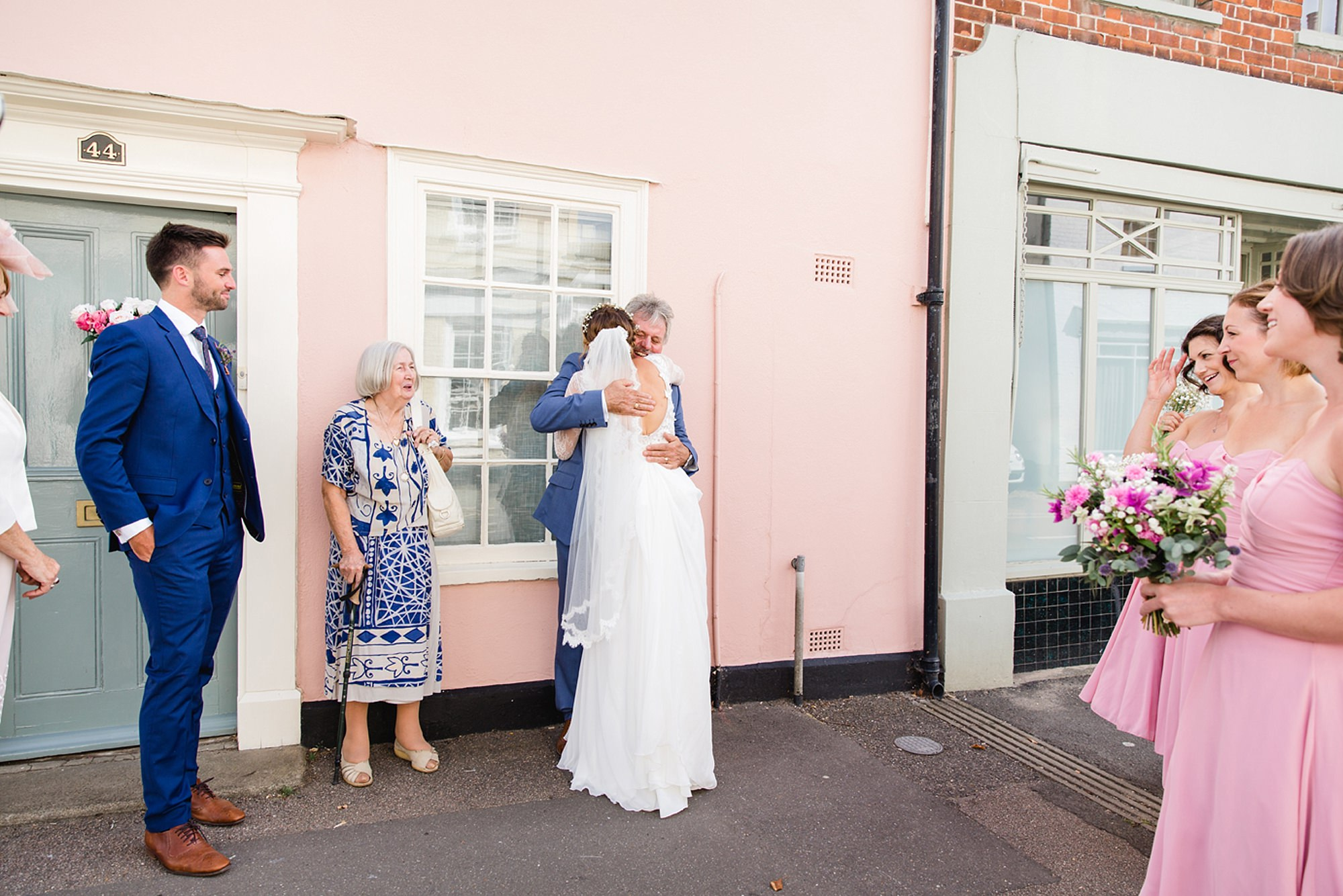 Marks Hall Estate wedding photography bride greets her dad