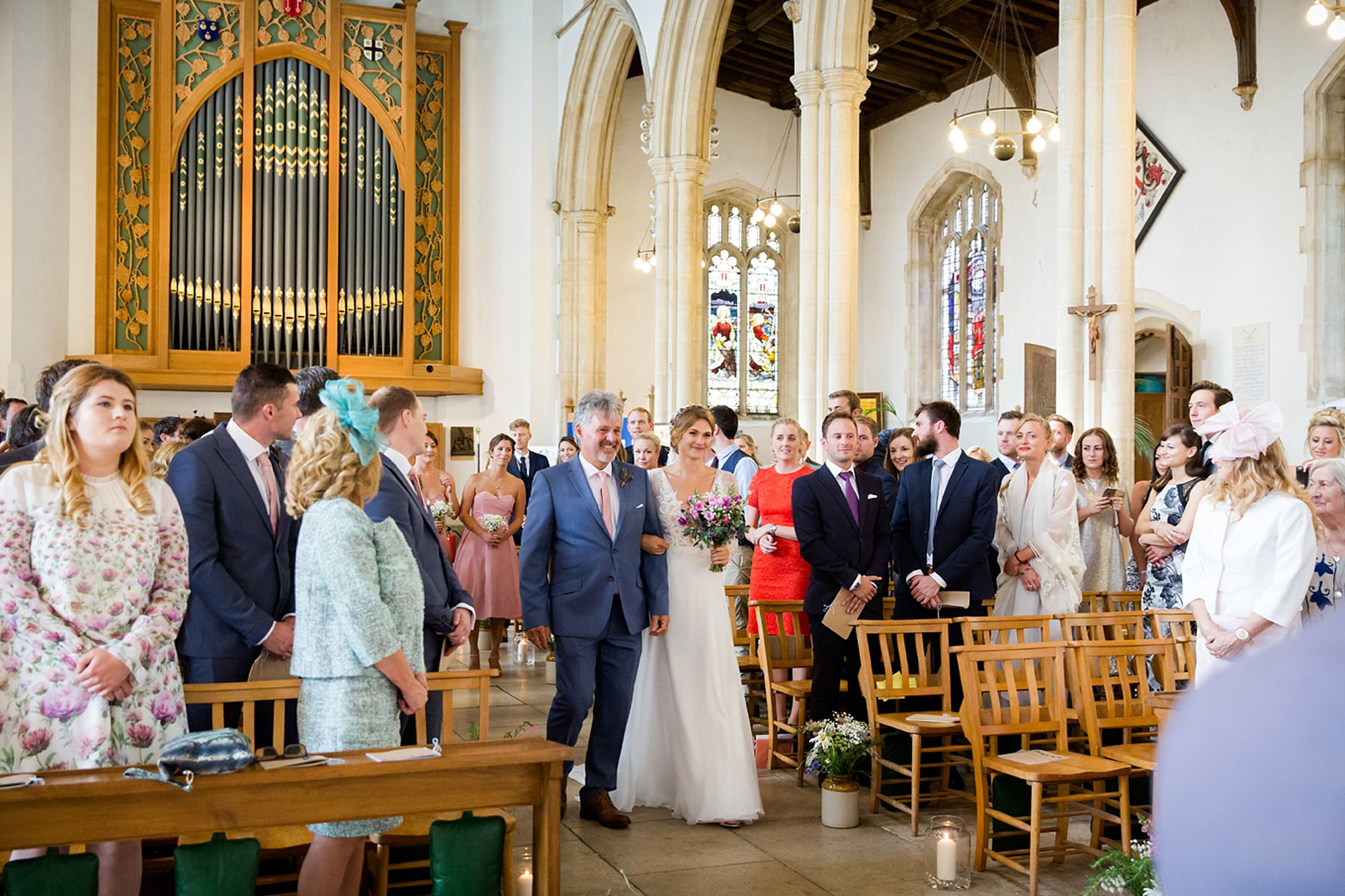 Marks Hall Estate wedding photography bride walking down aisle