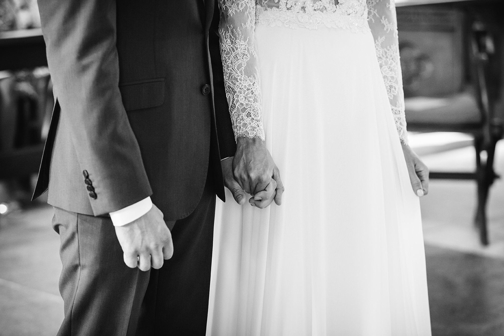 Marks Hall Estate wedding photography bride and groom hold hands