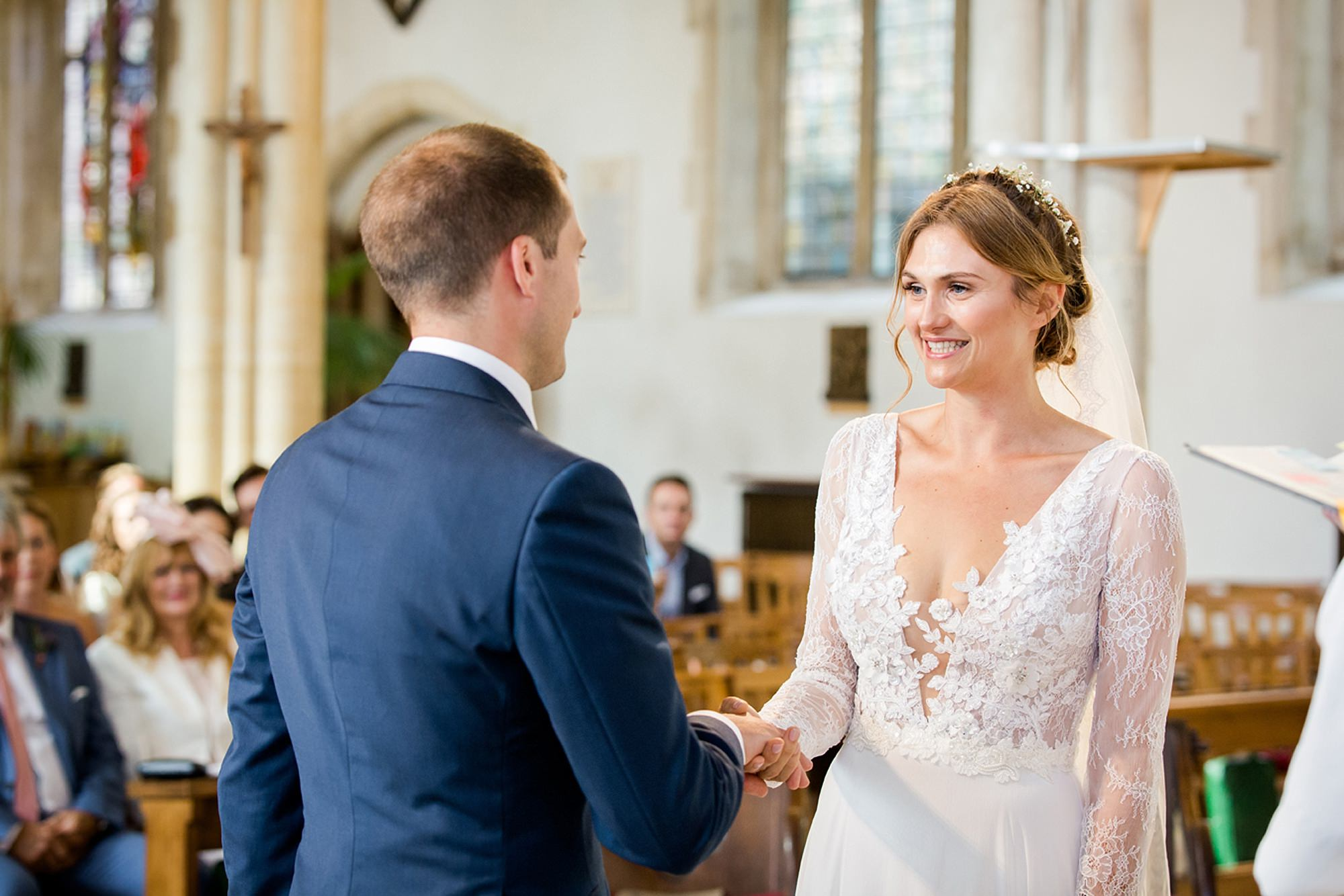 Marks Hall Estate wedding photography bride and groom during vows
