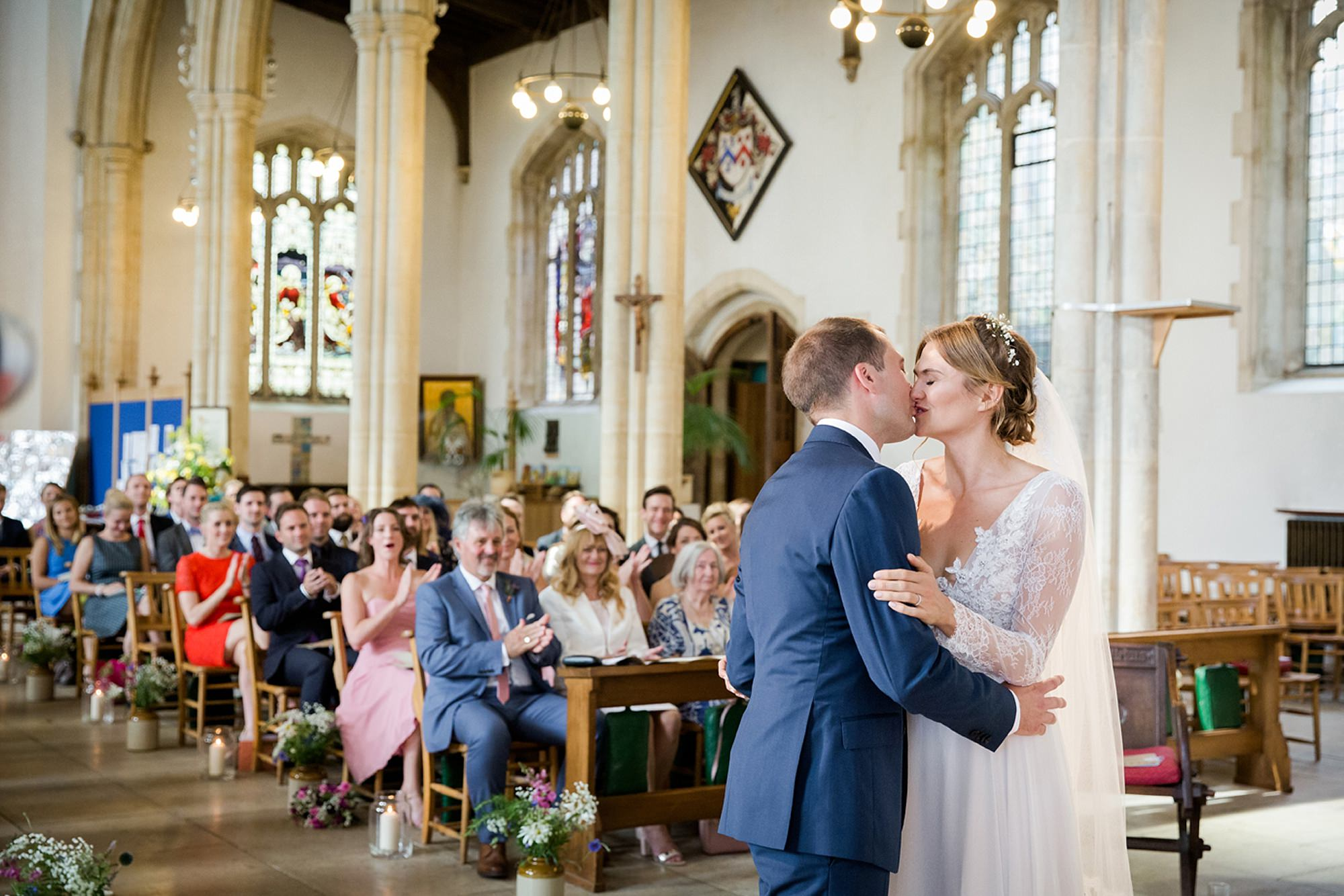 Marks Hall Estate wedding photography first kiss